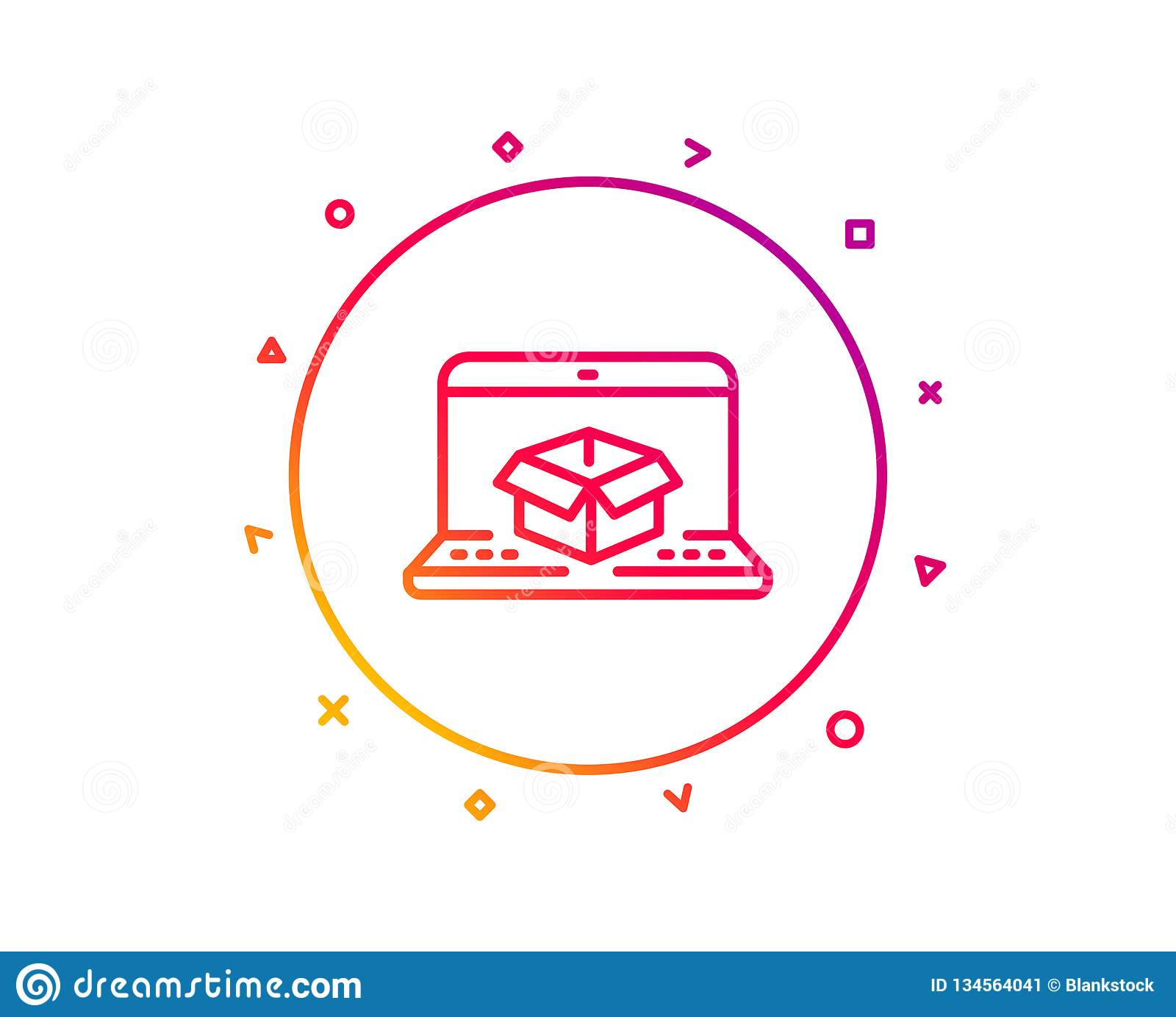 Online Delivery Line Icon  Parcel Tracking Sign  Vector