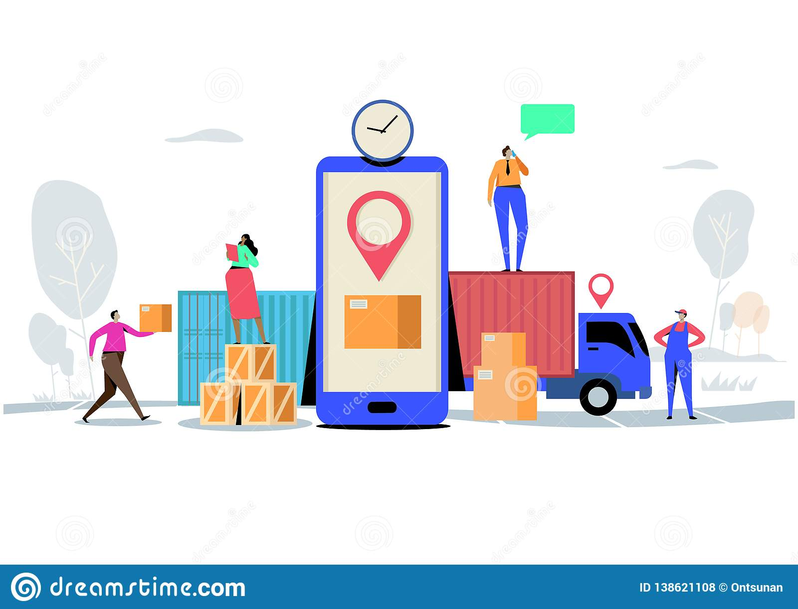 Online delivery service concept, Order, Cargo, Mobile App, GPS Tracking Service. Worldwide Logistic Delivery. Flat cartoon