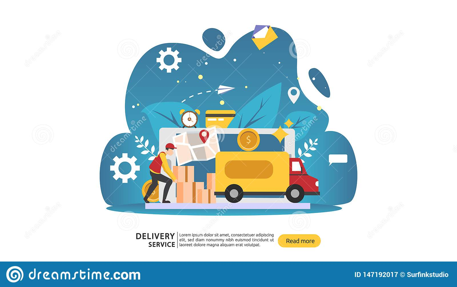 Online Delivery Service  Order Express Tracking Concept With Tiny