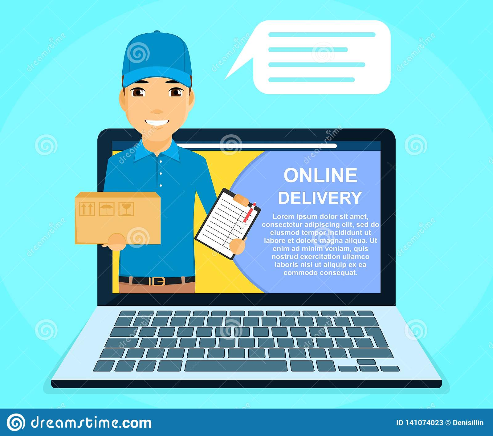 Online Delivery Service  A Young Guy, A Courier Holding A Box In His