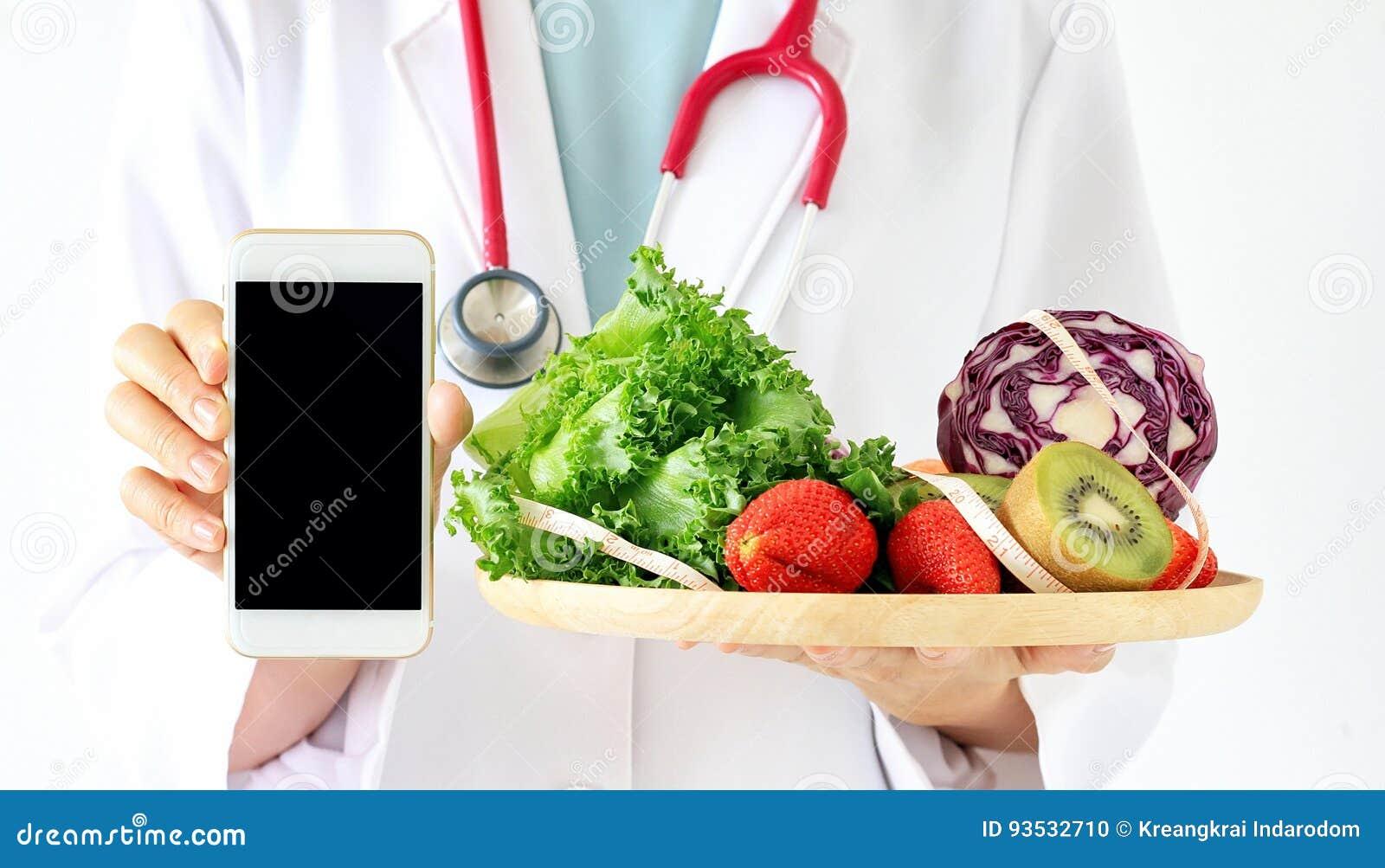 Online dieta konsultant, Doktorskiego mienia mądrze telefon, świeża owoc