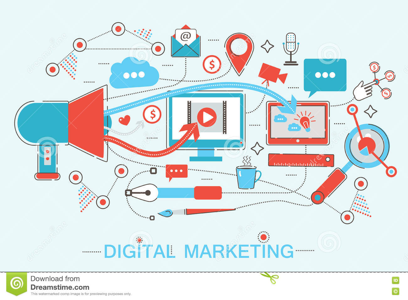 Online digital marketing and social network media branding for Digital marketing materials