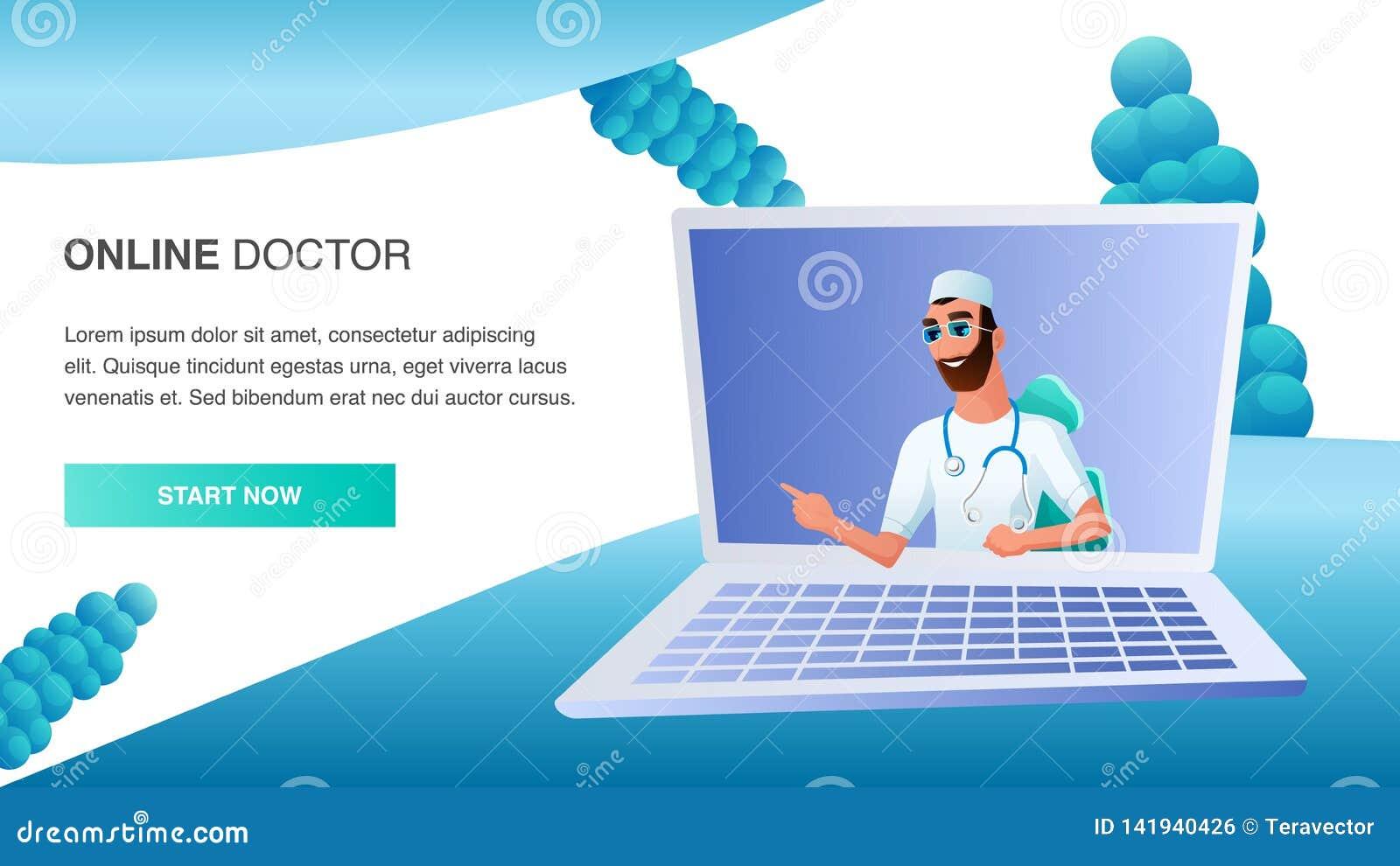 Online Doctor Consult Patient Distant Treatment Stock Vector