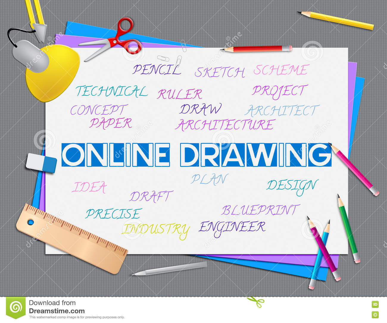 Online Drawing Shows Web Site And Creative Stock Illustration ...