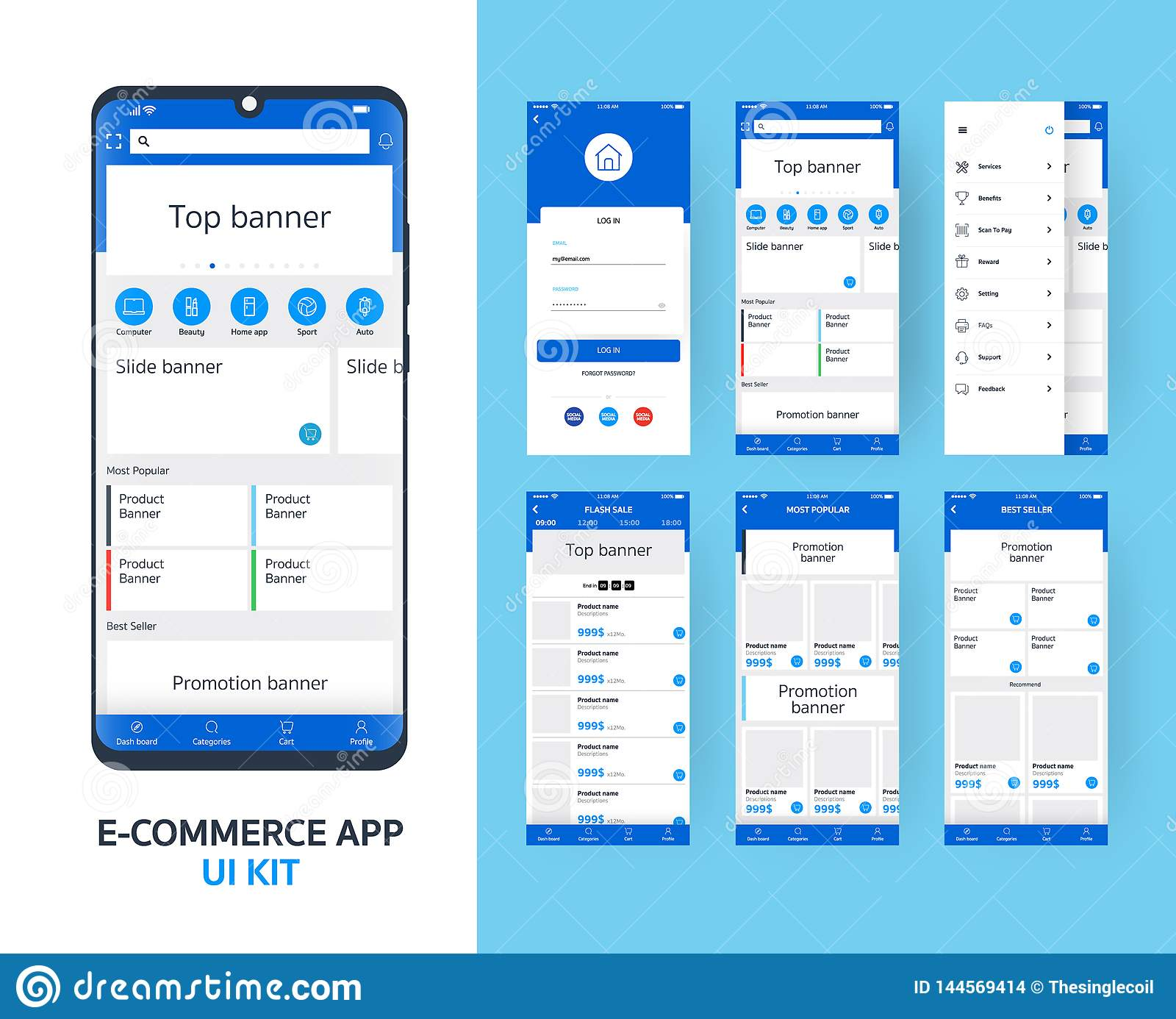 Online e-commerce app UI kit for responsive mobile app with different GUI layout including Login, main page, categories ,