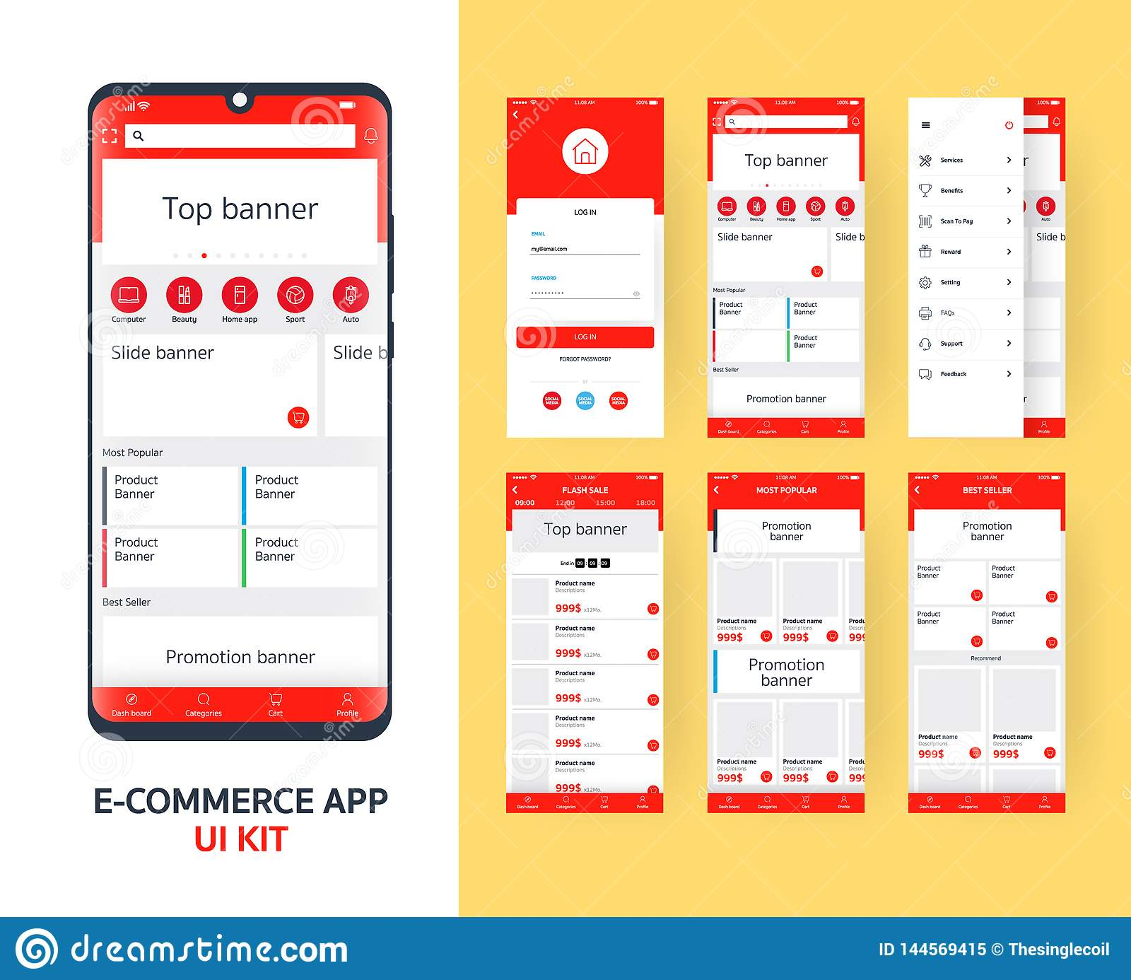 Online e-commerceapp UI uitrusting voor ontvankelijke mobiele toepassing met verschillende GUI-lay-out met inbegrip van Login, ho
