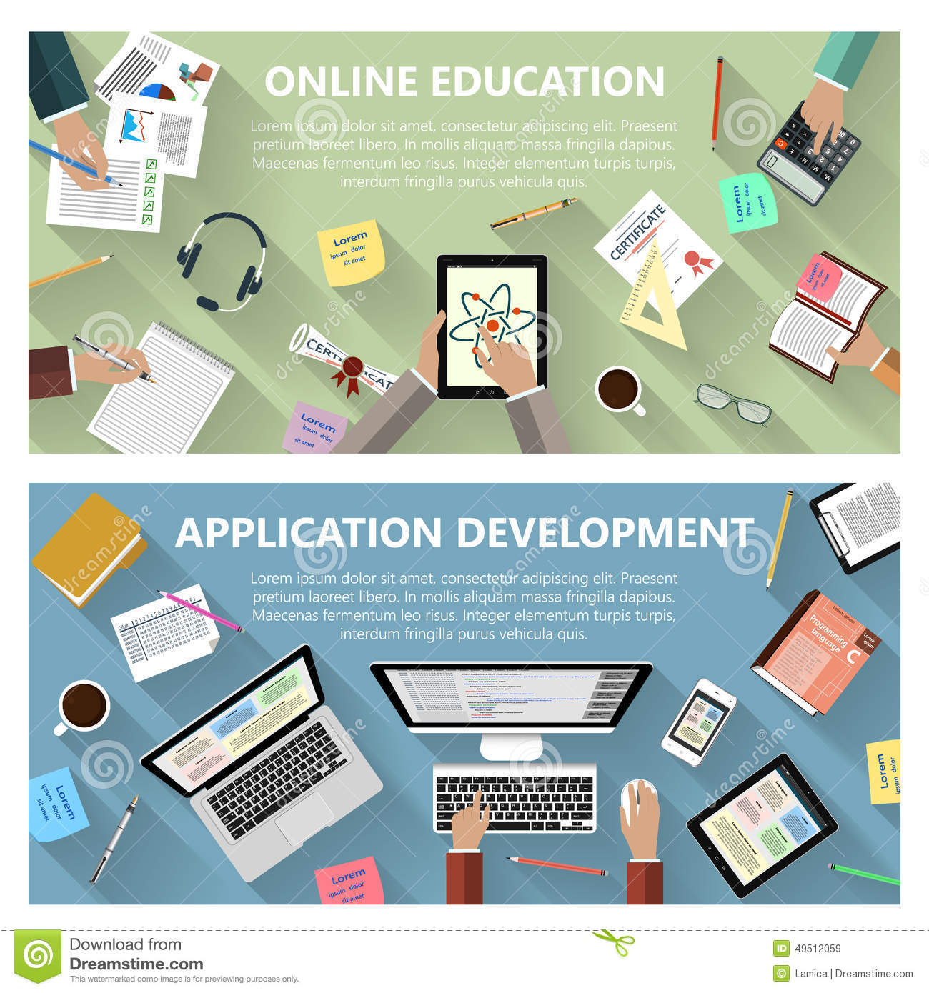 Online Education And App Development Concept