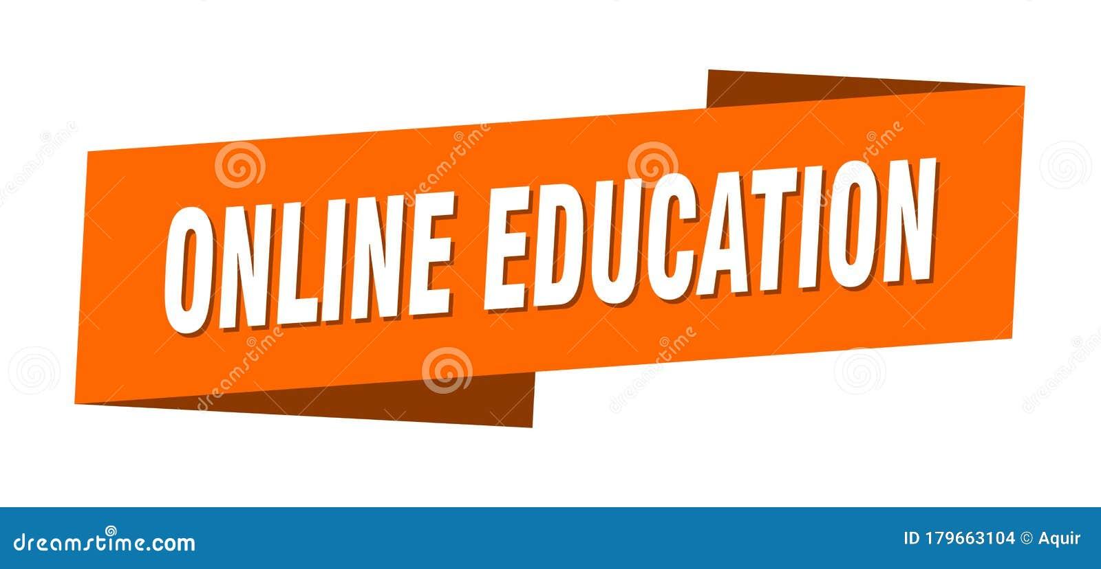 Online Education Banner Template Online Education Ribbon Label Stock Vector Illustration Of Fold Design 179663104
