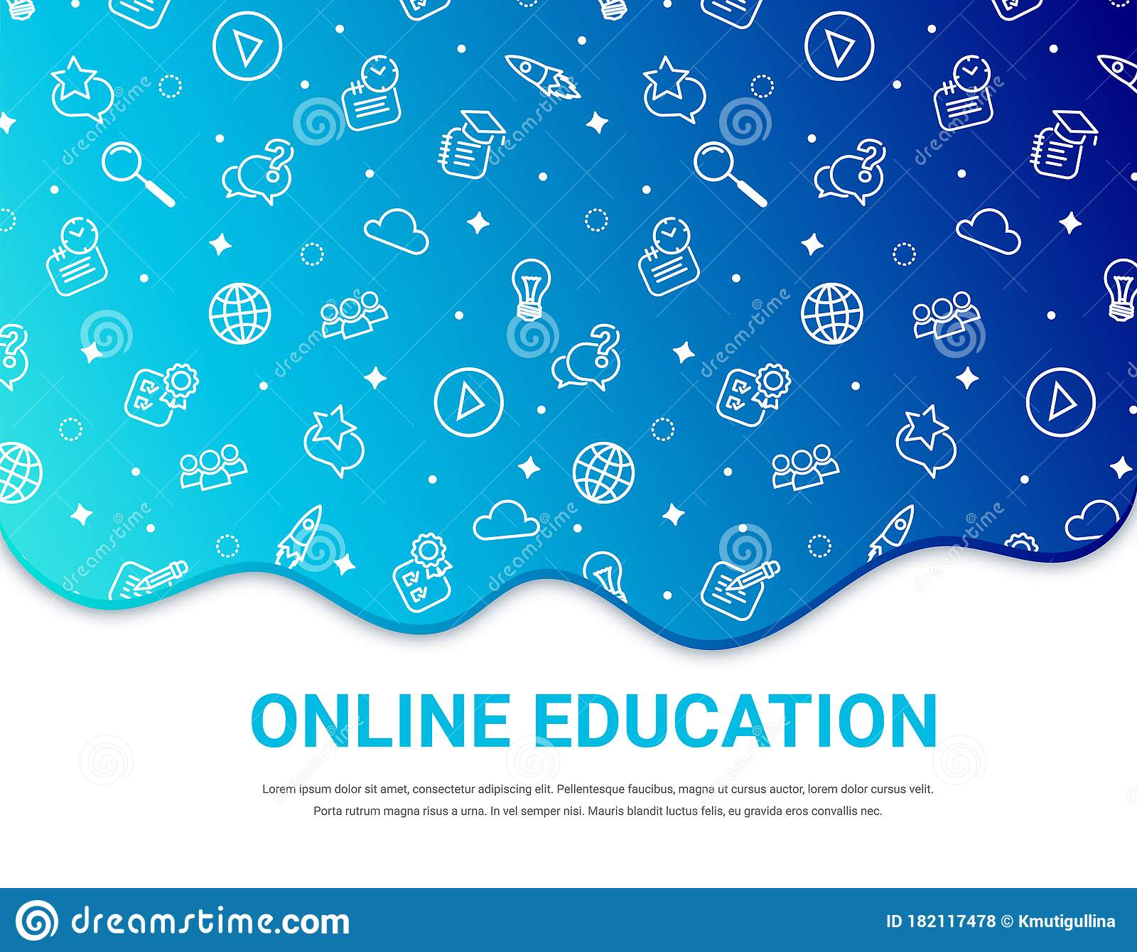 Online Education Blue Background Banner Stock Vector Illustration Of Graphic Learning 182117478