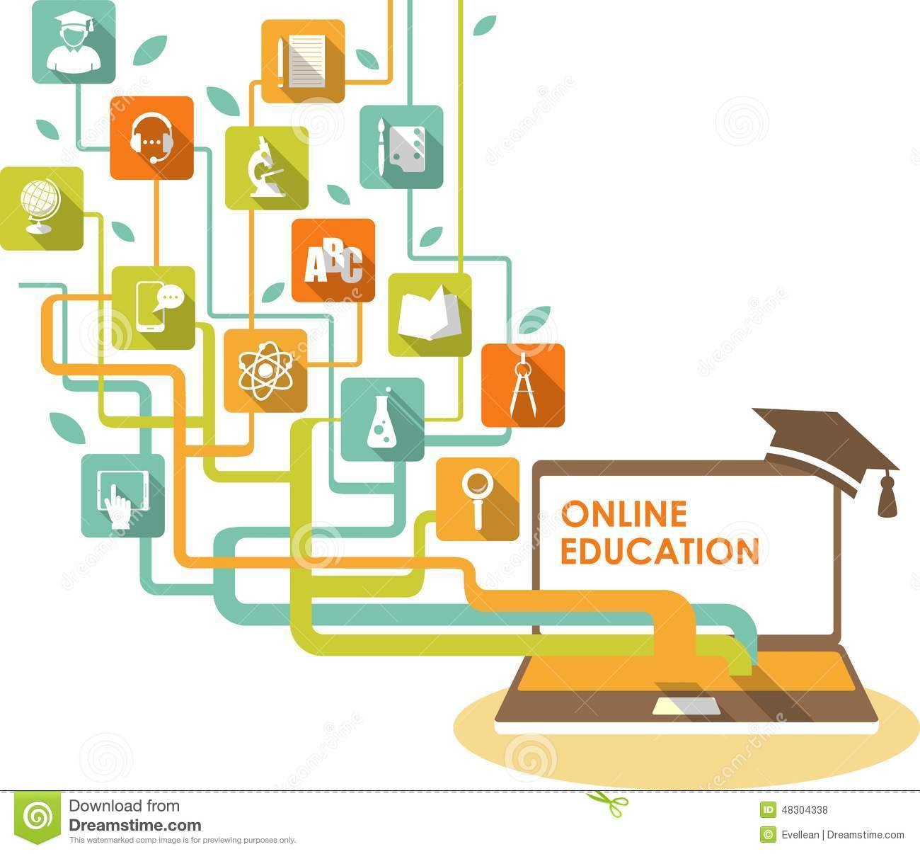 Online e-learning and science concept with computer and education ...
