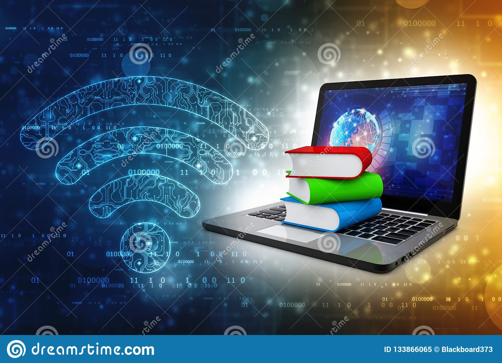 Online education concept - laptop computer with colorful books. 3d rendering