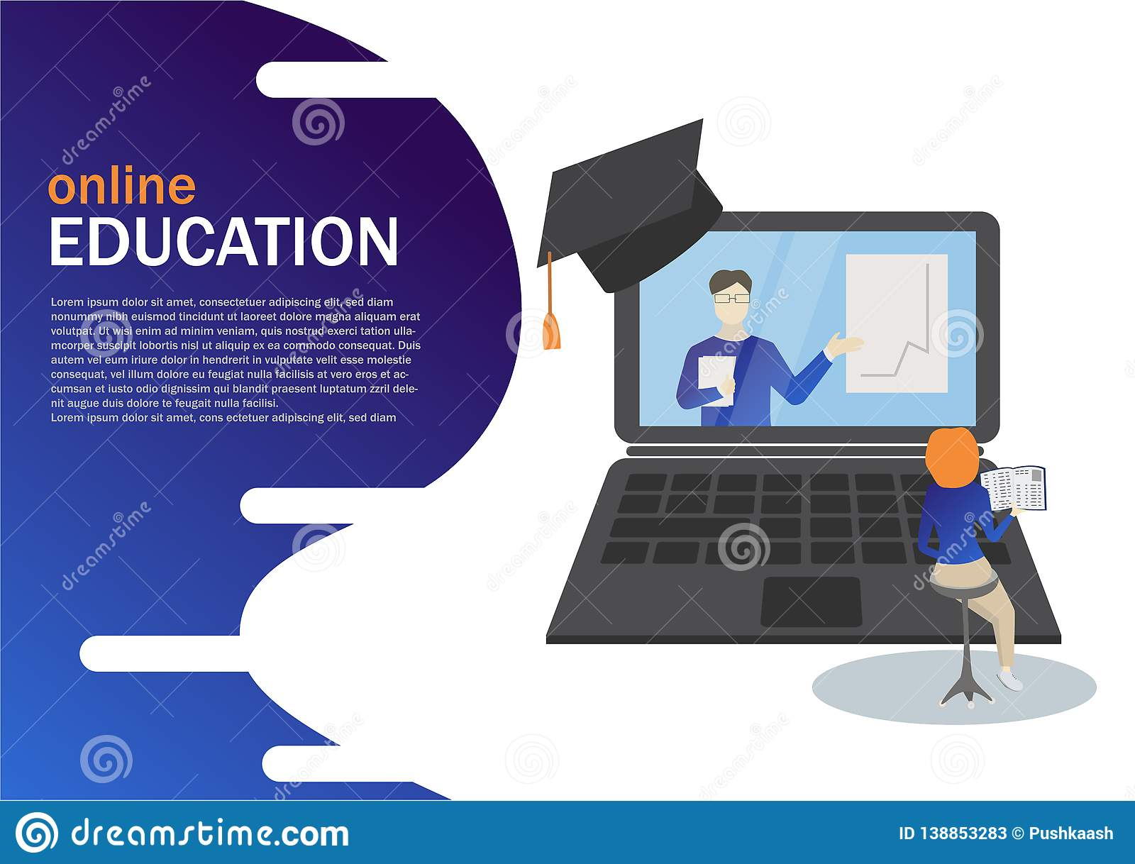 Online Education concept, laptop with teacher and graphic, girl preparing online for landing page design.