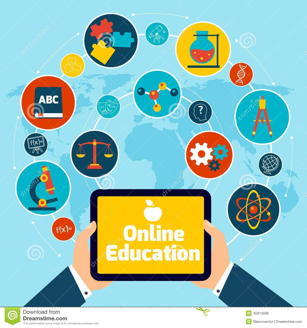 Online education concept with science icons human hand holding mobile ...