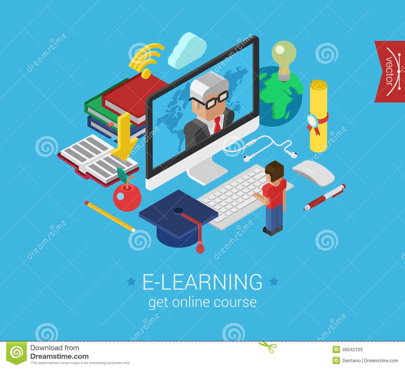 Online education course e-learning flat 3d isometric modern concept ...