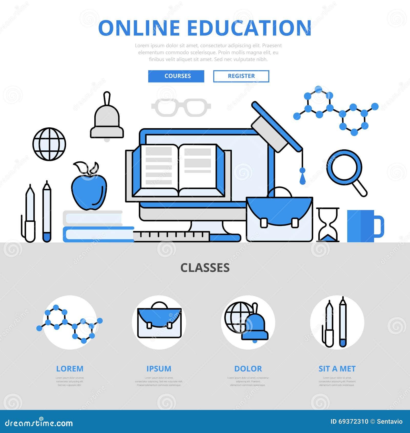 Line Art Website : Online education course library concept flat line art