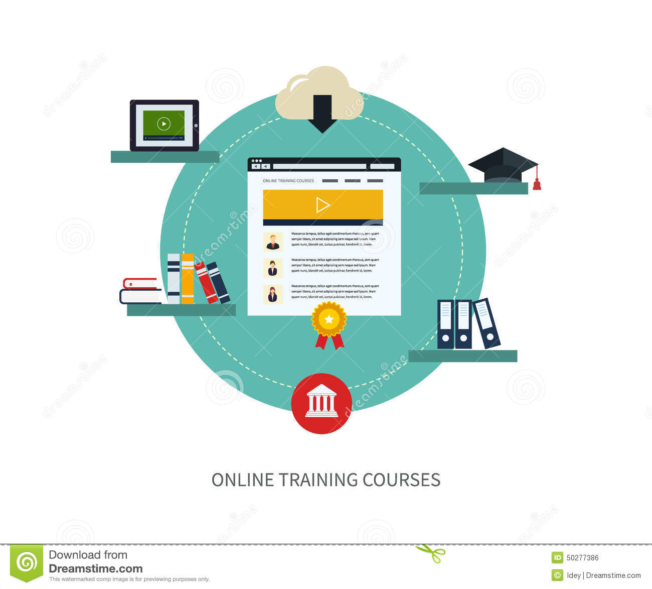 Online Education And Courses Stock Vector - Illustration ...
