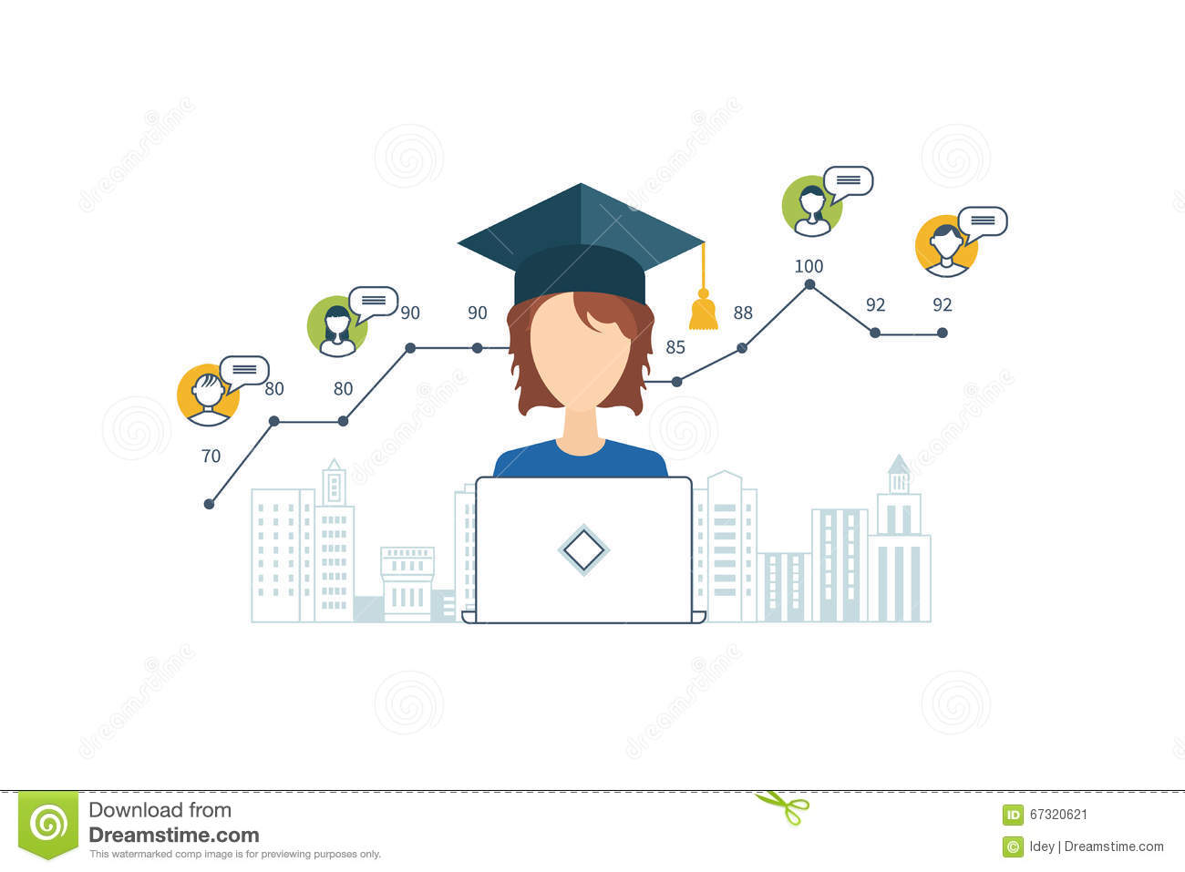 Online Education And Courses Project Management Stock Vector