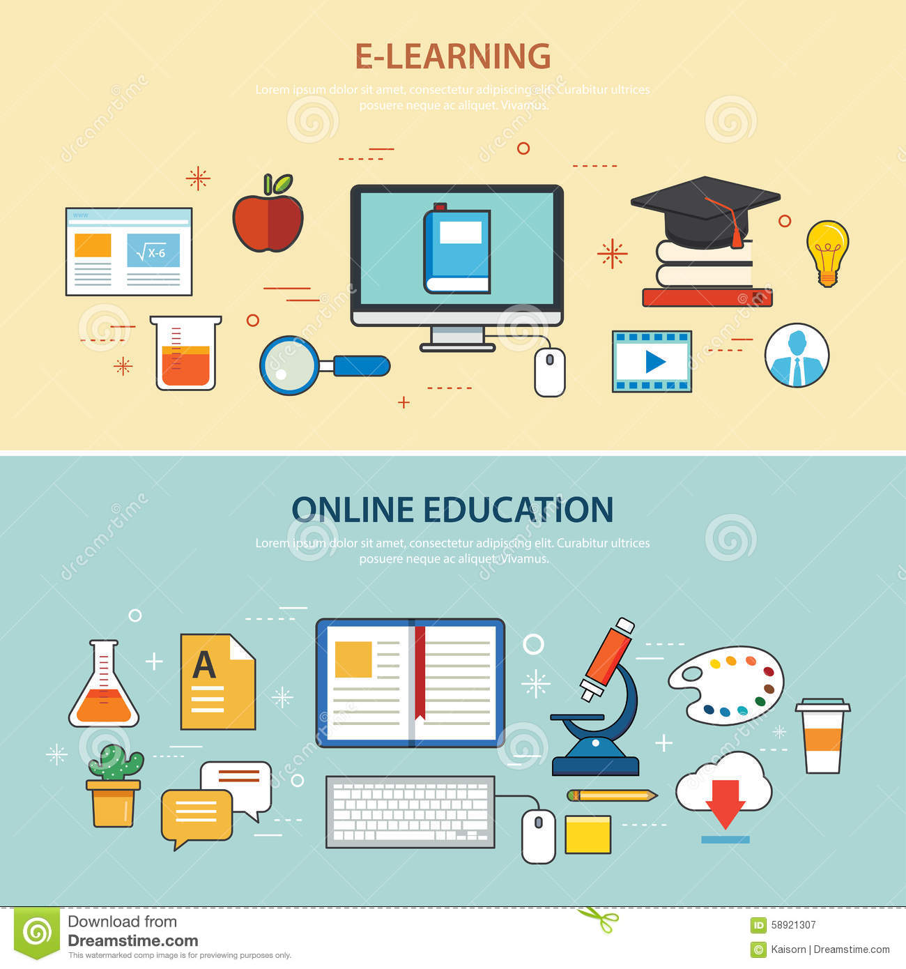 Online education and e learning banner flat design for Blueprint online