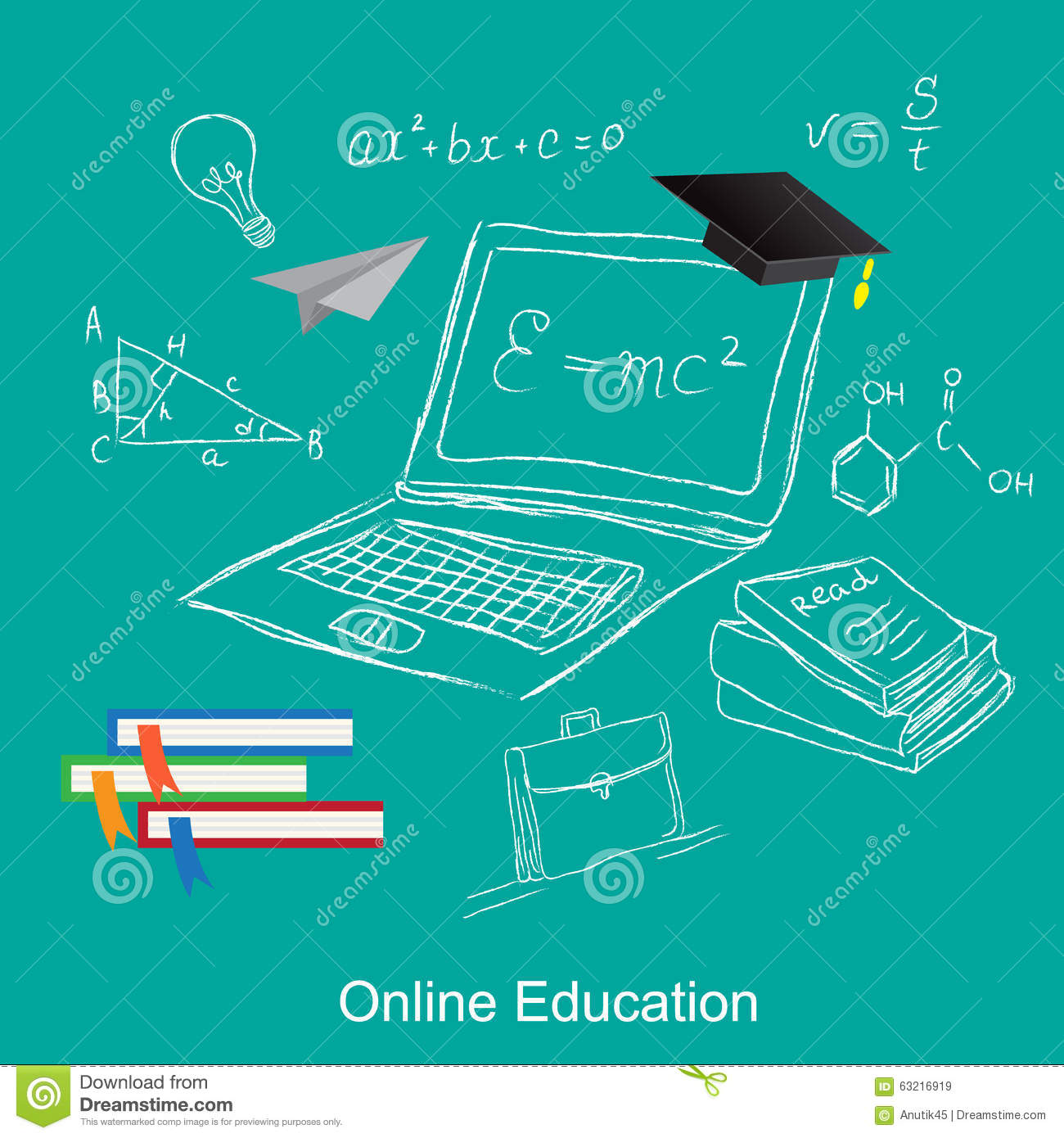 Online Education, Flat Vector Illustration, Apps, Banner, Sketch ...