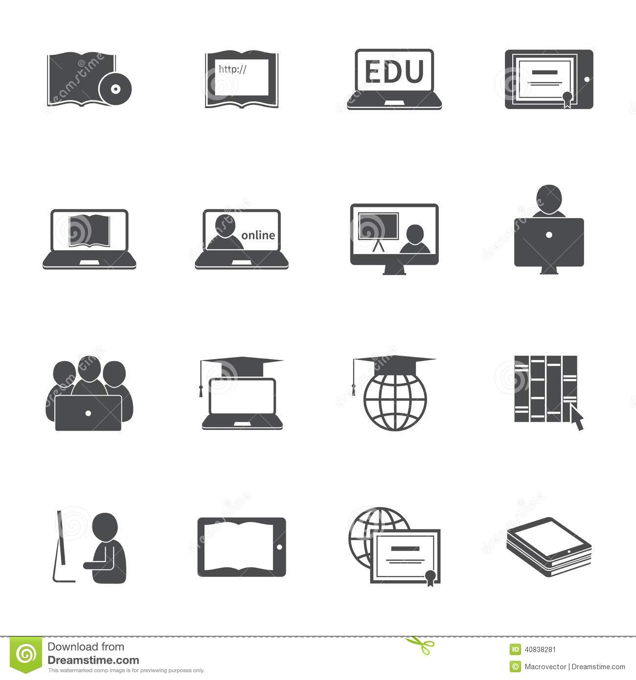 Online Education Icon Set Stock Vector - Image: 40838281