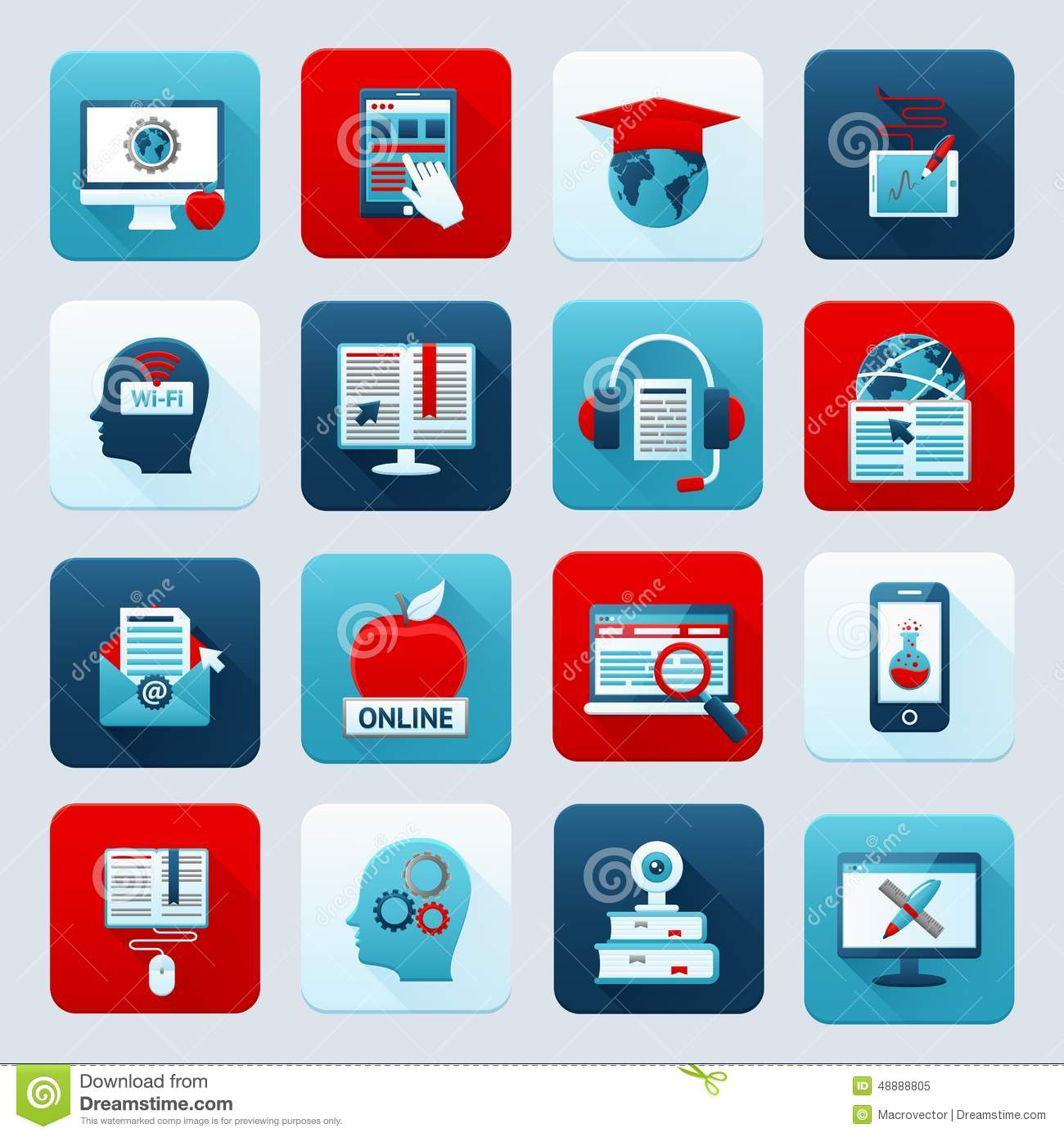Online Education Icons Stock Vector - Image: 48888805