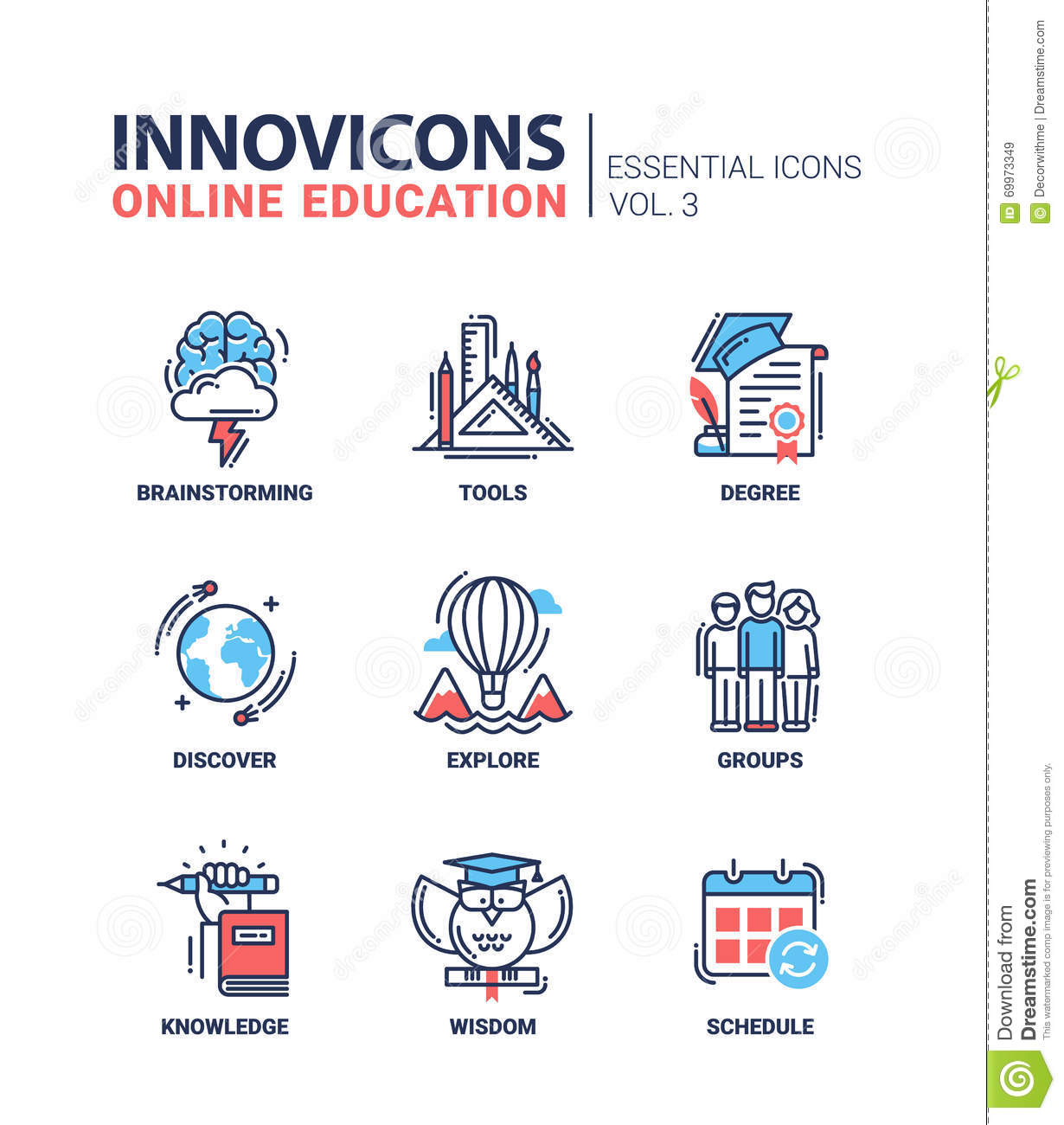 Online Education Icons Set Stock Vector - Image: 69973349