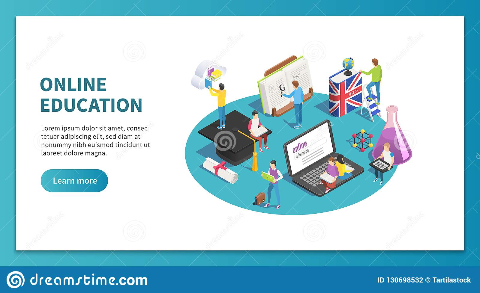 Online education isometric concept. Internet studying and web course. Learning students website landing page vector