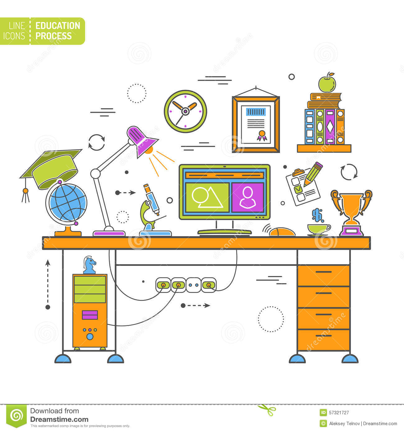 Online Education Process Stock Vector Image 57321727