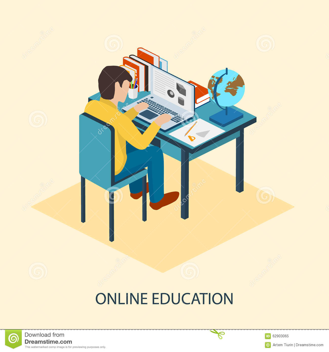 Online education. Students are taught online. Flat modern illustration ...