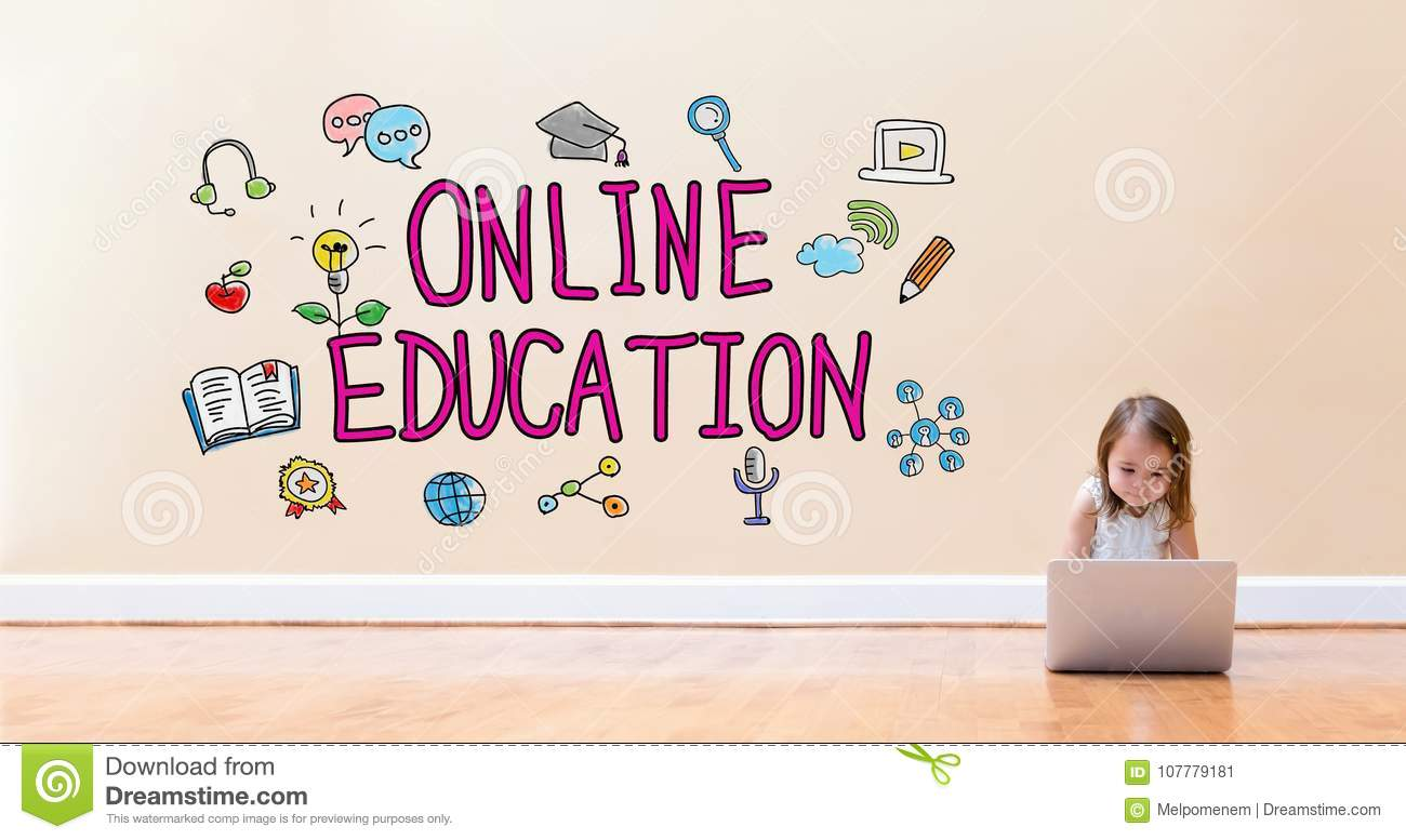 Online Education text with little girl using a laptop computer
