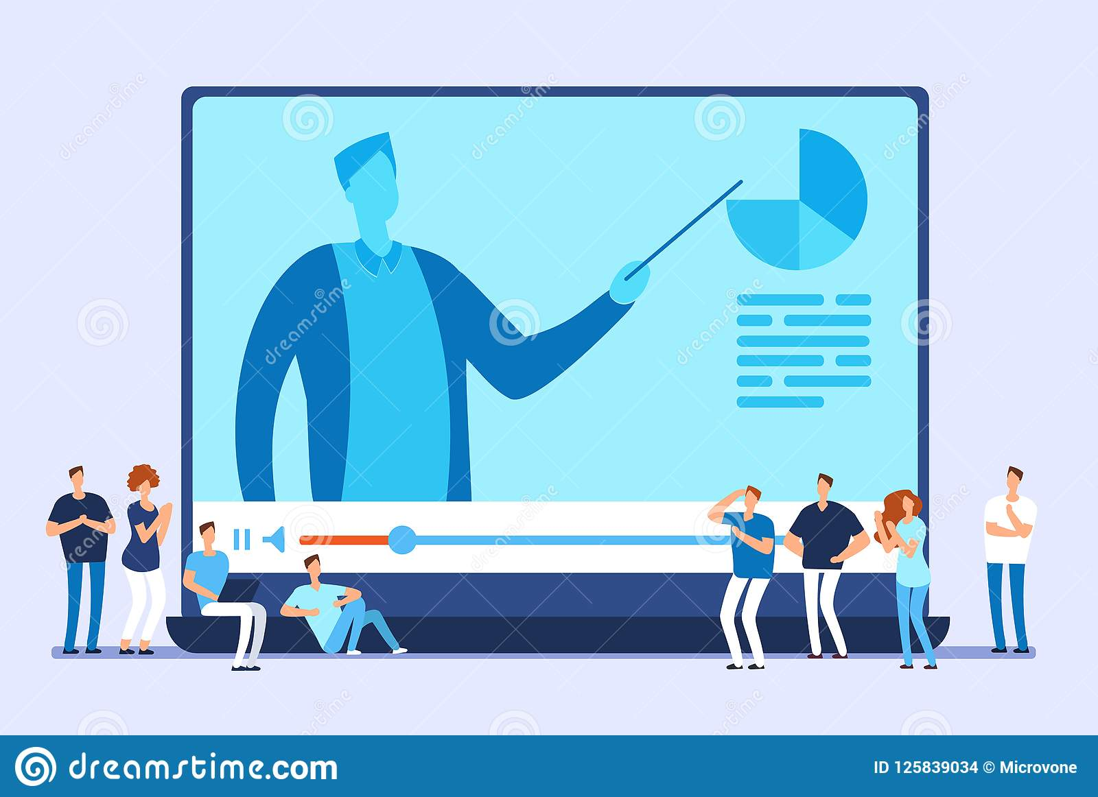 Online education. Video tutorials, internet training and web course vector concept