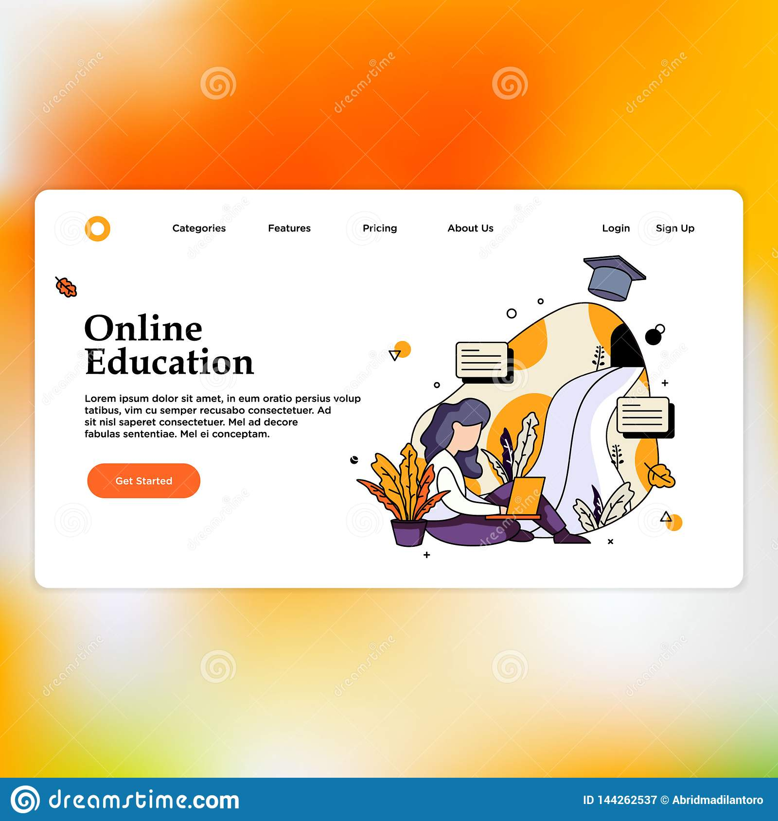 Online education for website and mobile website. Landing page template.