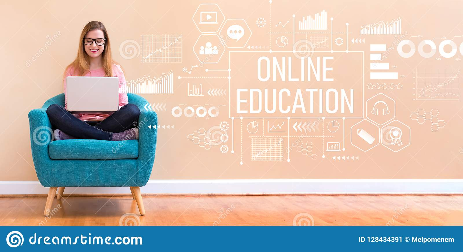 Online Education With Woman Using A Laptop Stock Image Image Of