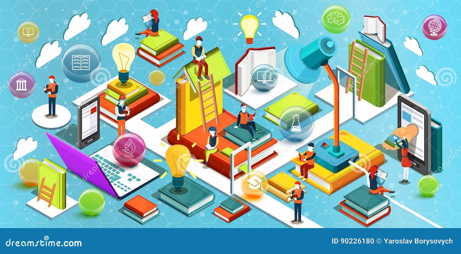 Online edukaci Isometric płaski projekt Pojęcie czytelnicze książki w bibliotece w sala lekcyjnej i jabłko rezerwuje pojęcia eduk