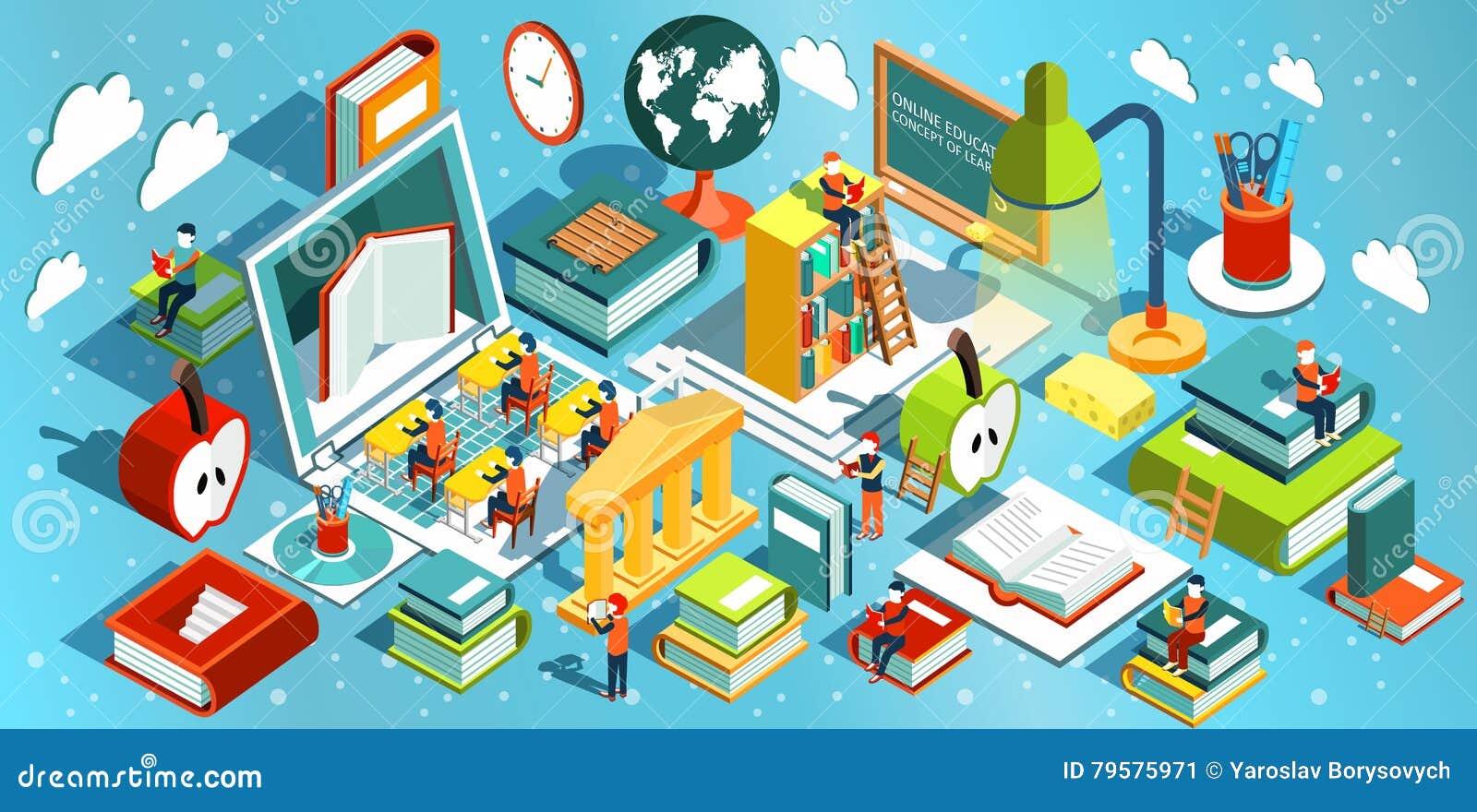 Online edukaci Isometric płaski projekt Pojęcie uczenie i czytelnicze książki w bibliotece w sala lekcyjnej i