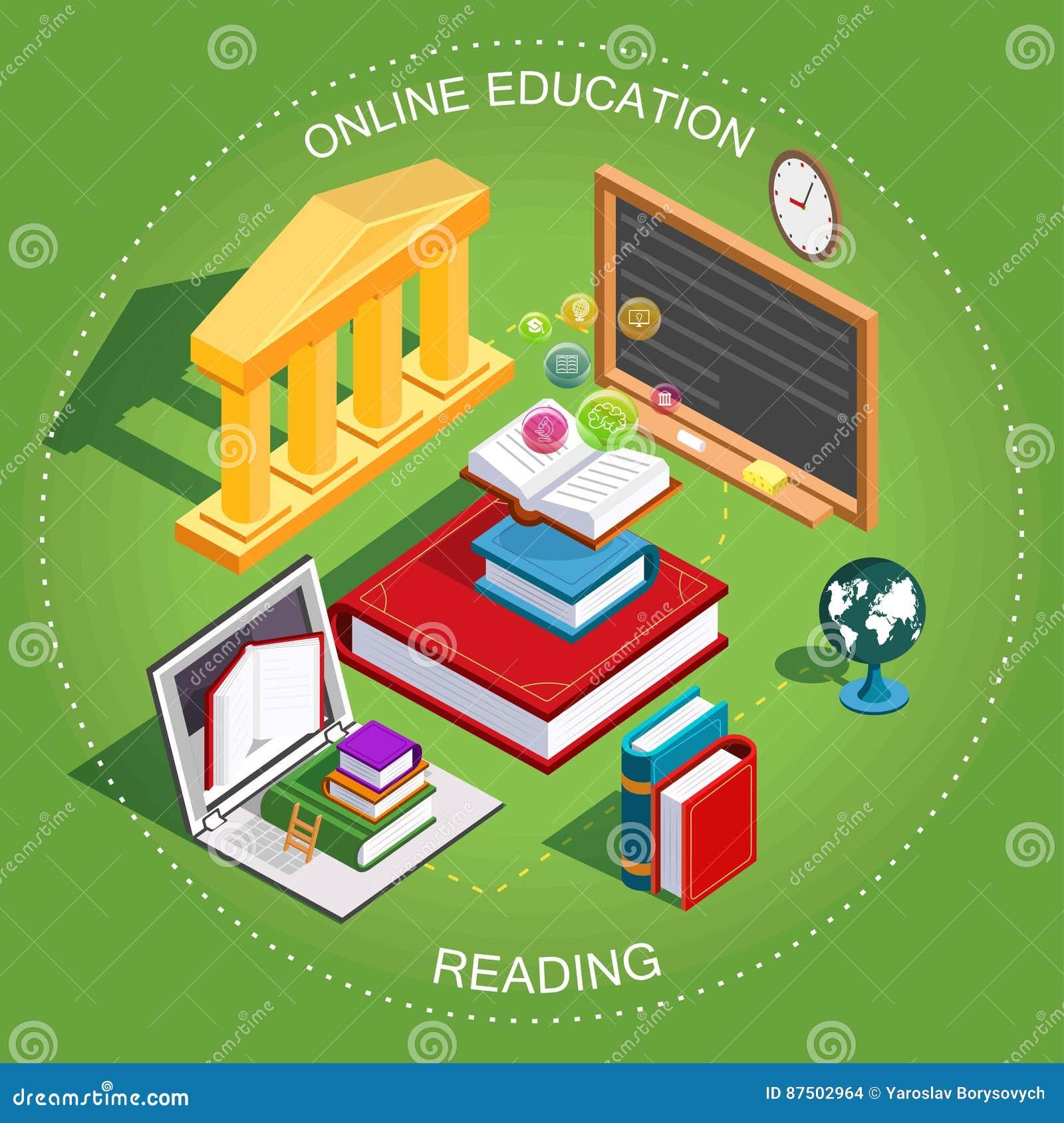 Online edukacja Isometric Pojęcie uczenie i czytelnicze książki w bibliotece Płaski projekt wektor