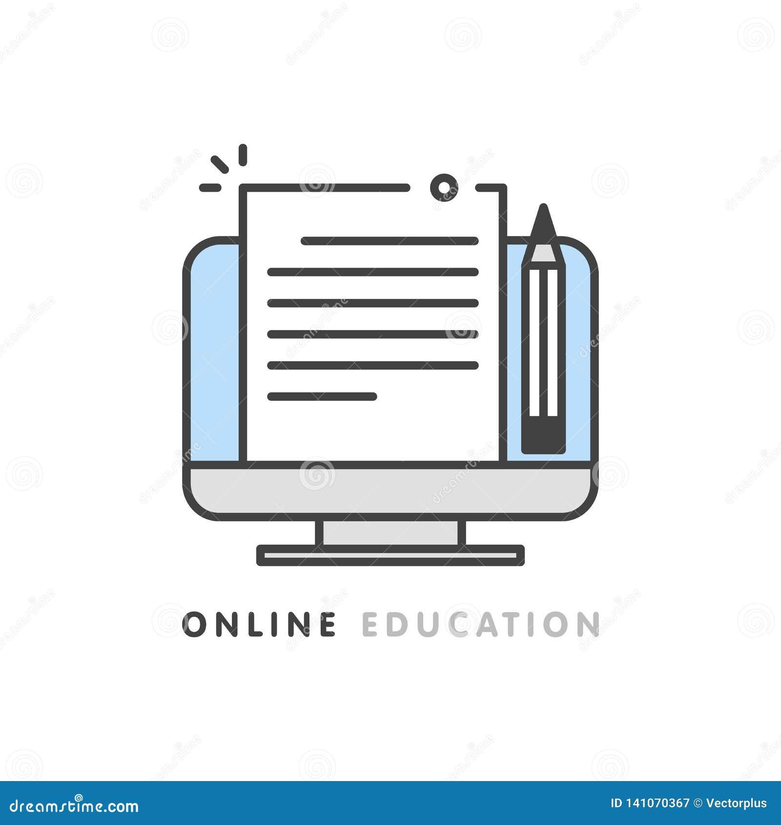 Online edukacja, kreatywnie pisać i relacja, copywriting pojęcie, redaguje teksta dokument, odległy uczenie, wektor