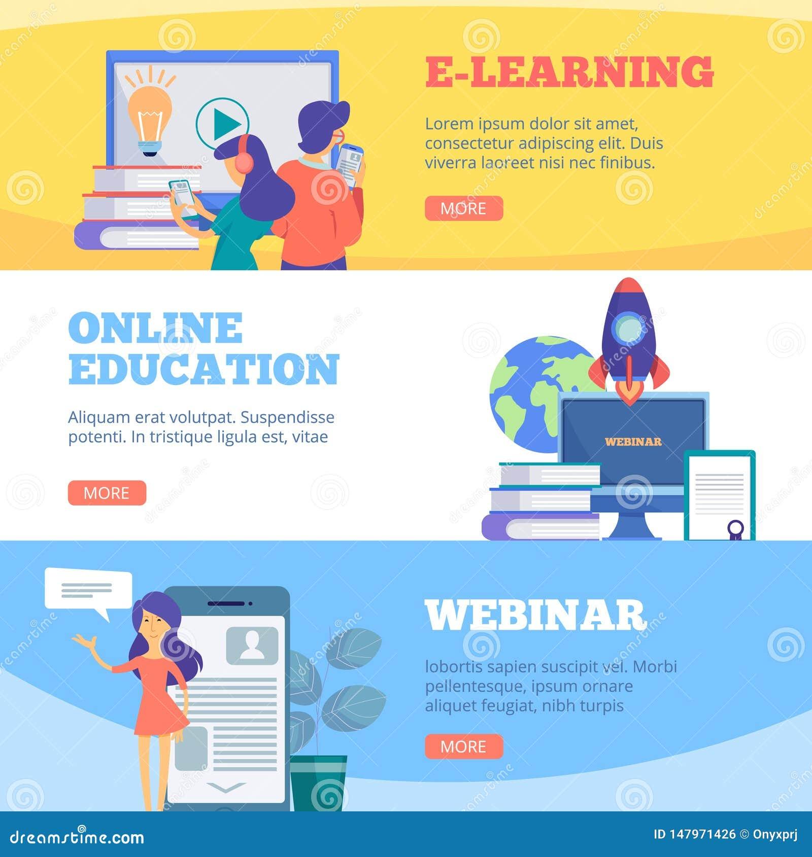 Online edukacja sztandary Webinar sieci szkoły e uczenie odległości konferencyjnych kursów mieszkania wektorowi obrazki