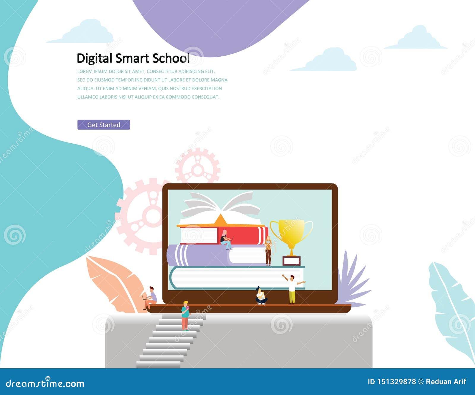 Online edukacji pojęcia wektorowi ilustracyjni mężczyźni i kobiety czytelnicza książka obok online