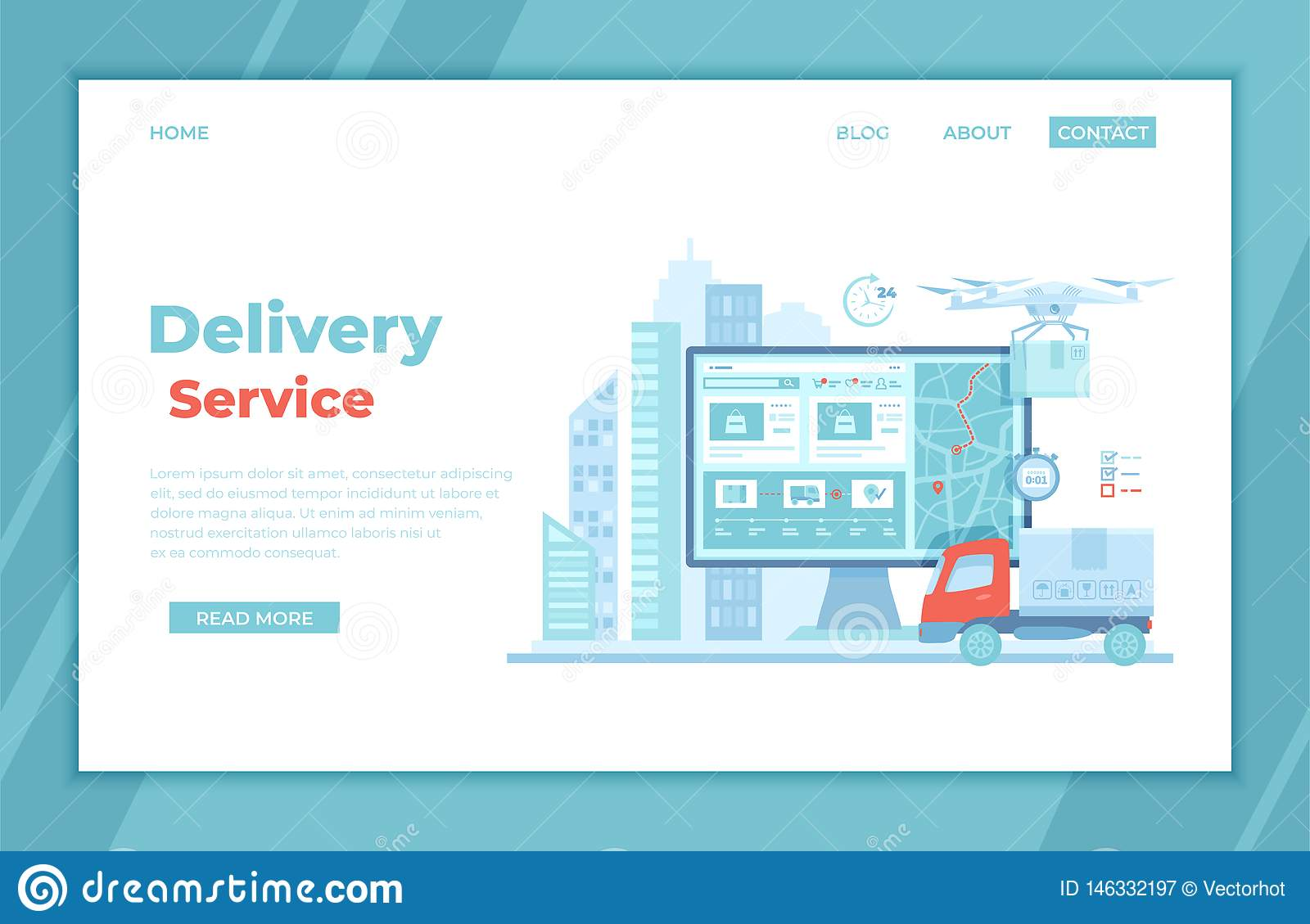Online Express Delivery Service , Order Tracking  Truck, Monitor