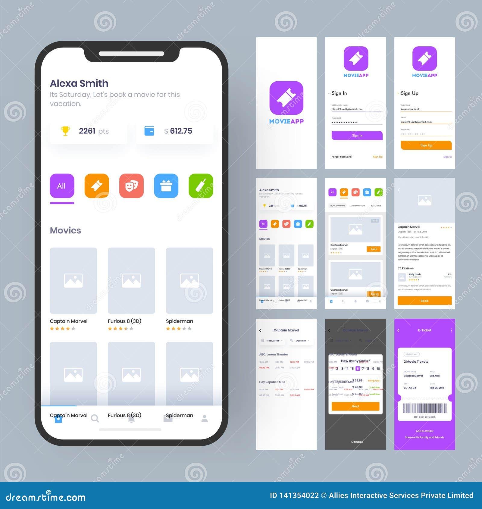 Online filmu App UI zestaw dla wyczulonego mobilnego app lub strona internetowa z różnym GUI