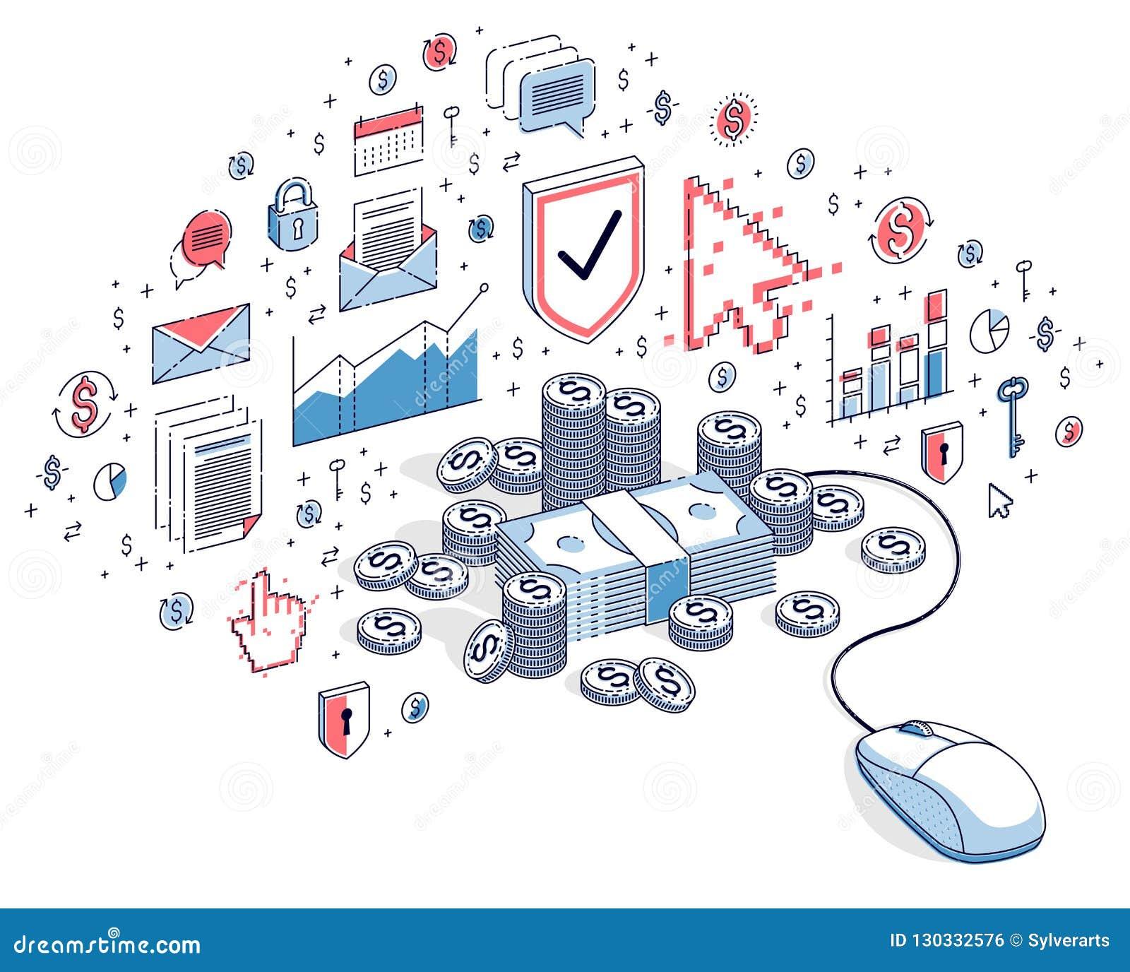 Online Finance Concept, Web Payments, Internet Earnings, Online