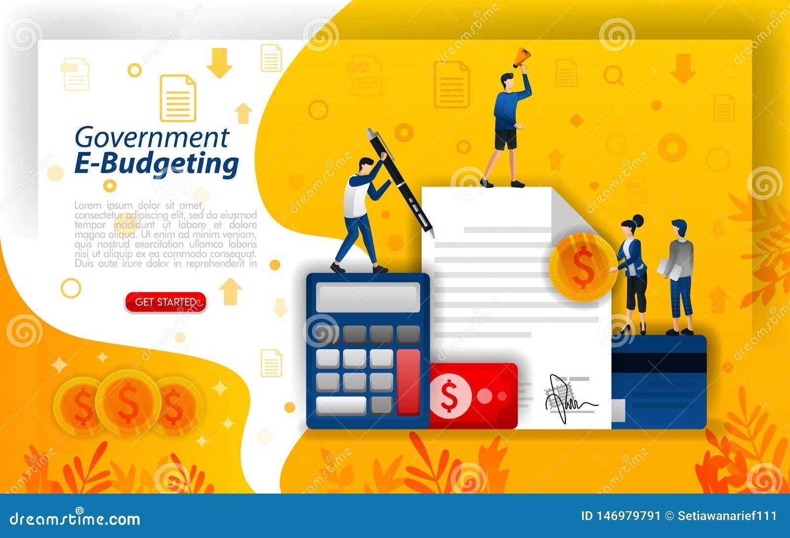 Online-finansiell planl?ggning, digitalt budgetera, online-regering som budgeterar och e-att budgetera teknologi, begreppsvektori