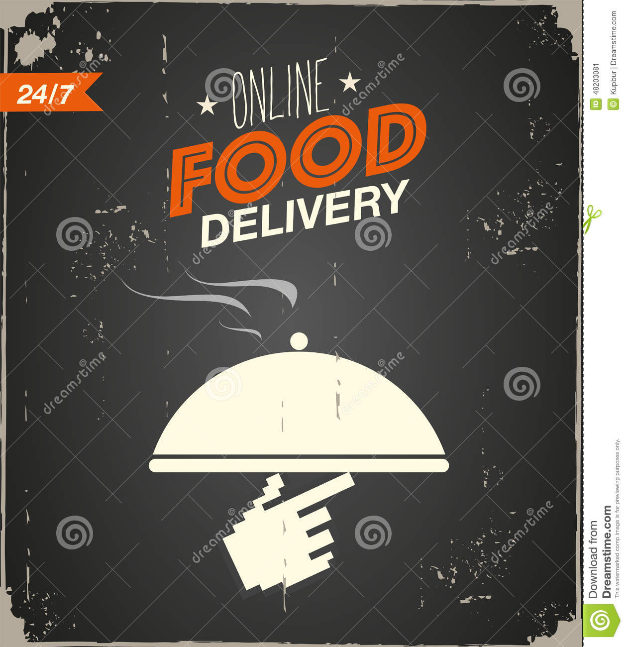 Online Food Delivery Poster Stock Vector Image 48203081