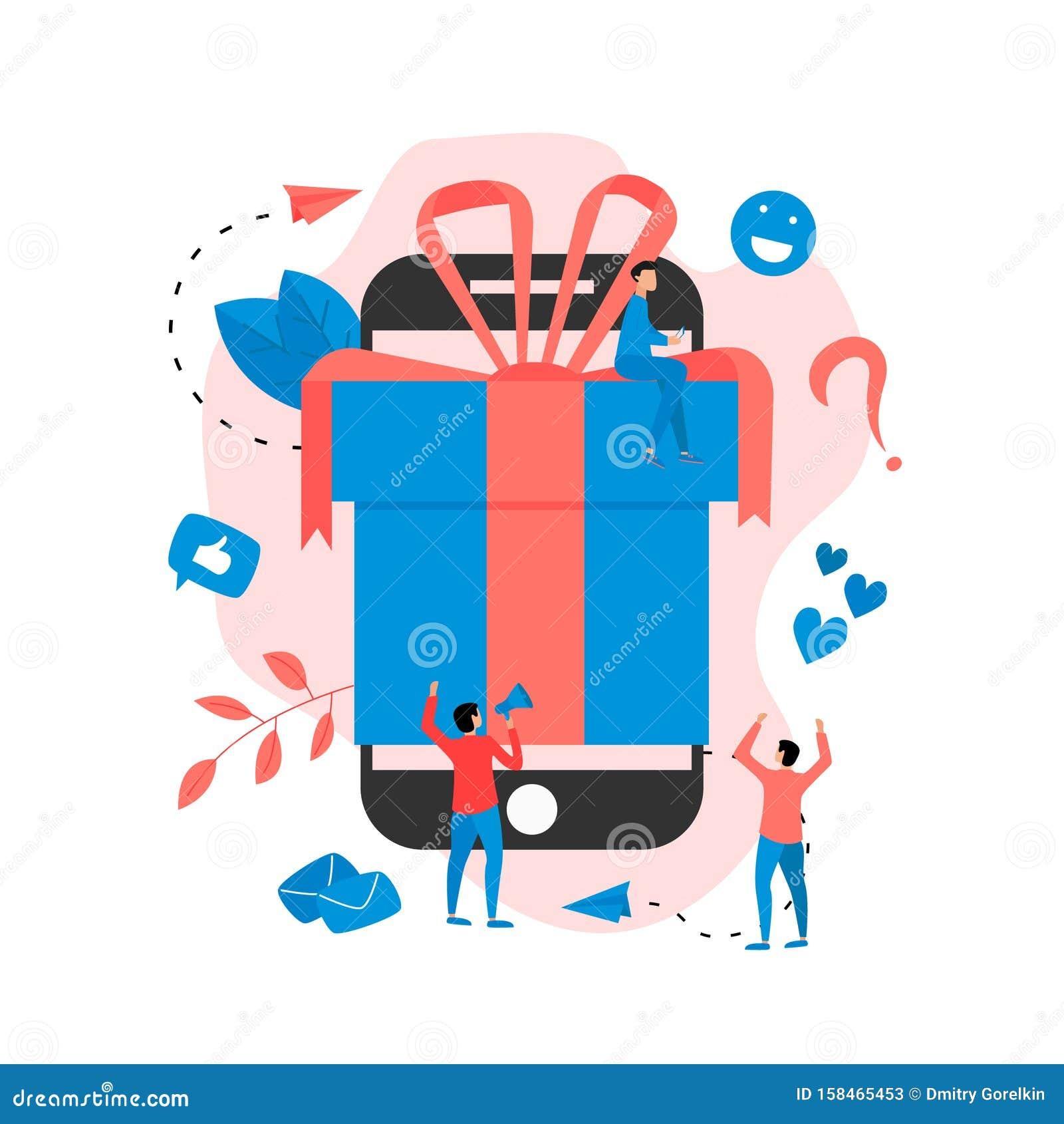 Online gift box. Promotion of online store or shop loyalty program and bonus. Vector illustration for advertisement