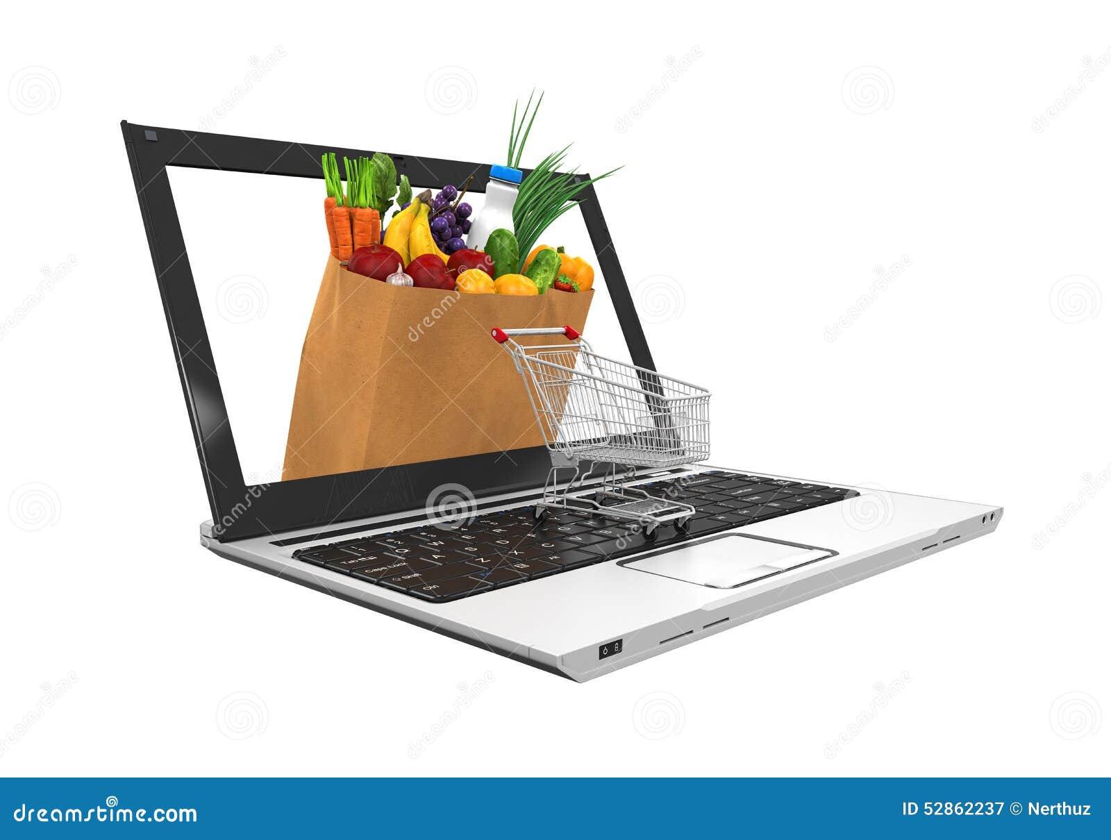 Online Grocery Shopping Illustration Stock Illustration