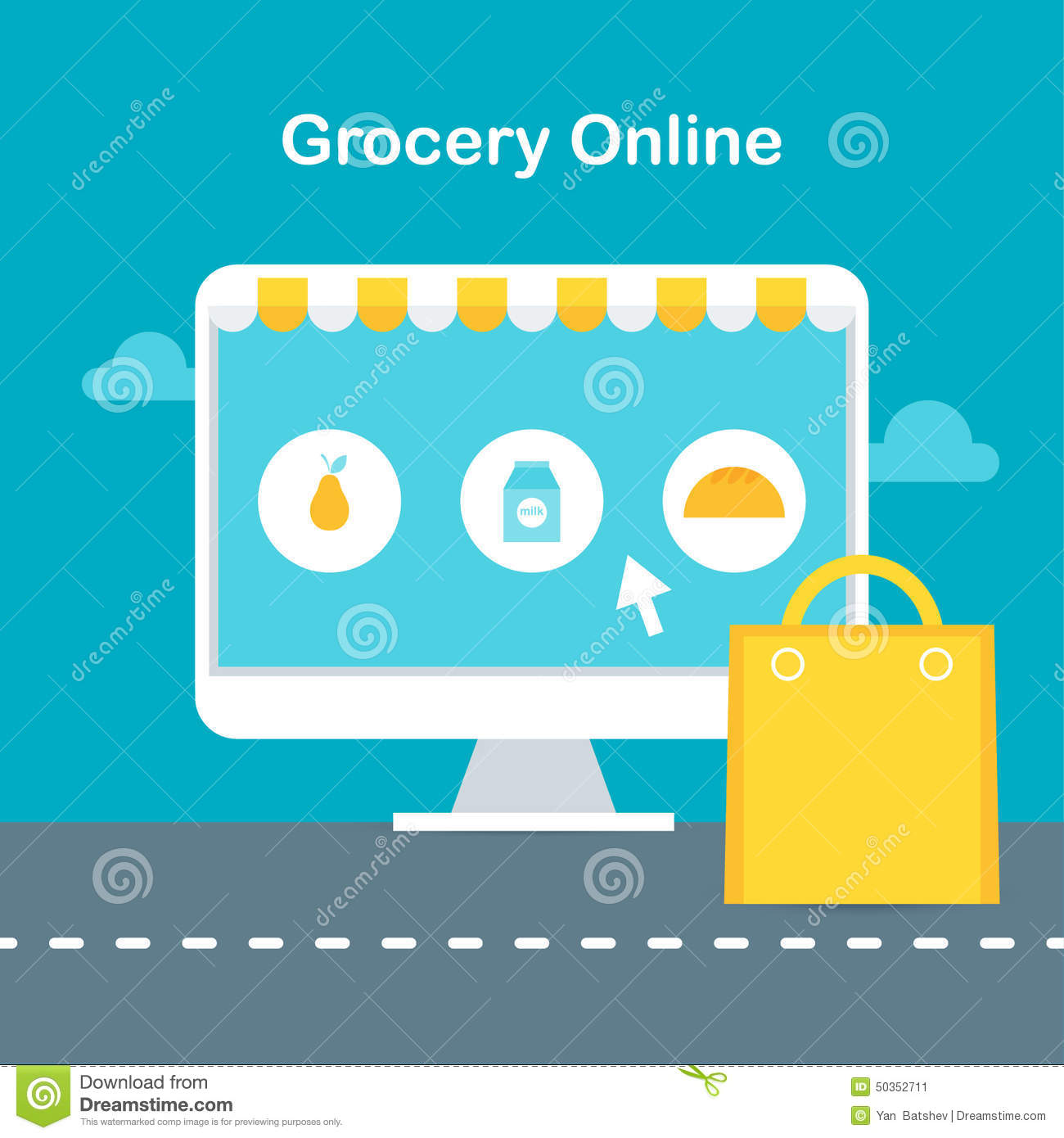 Online Grocery Store Illustration. Ecommerce And Online Shopping ...