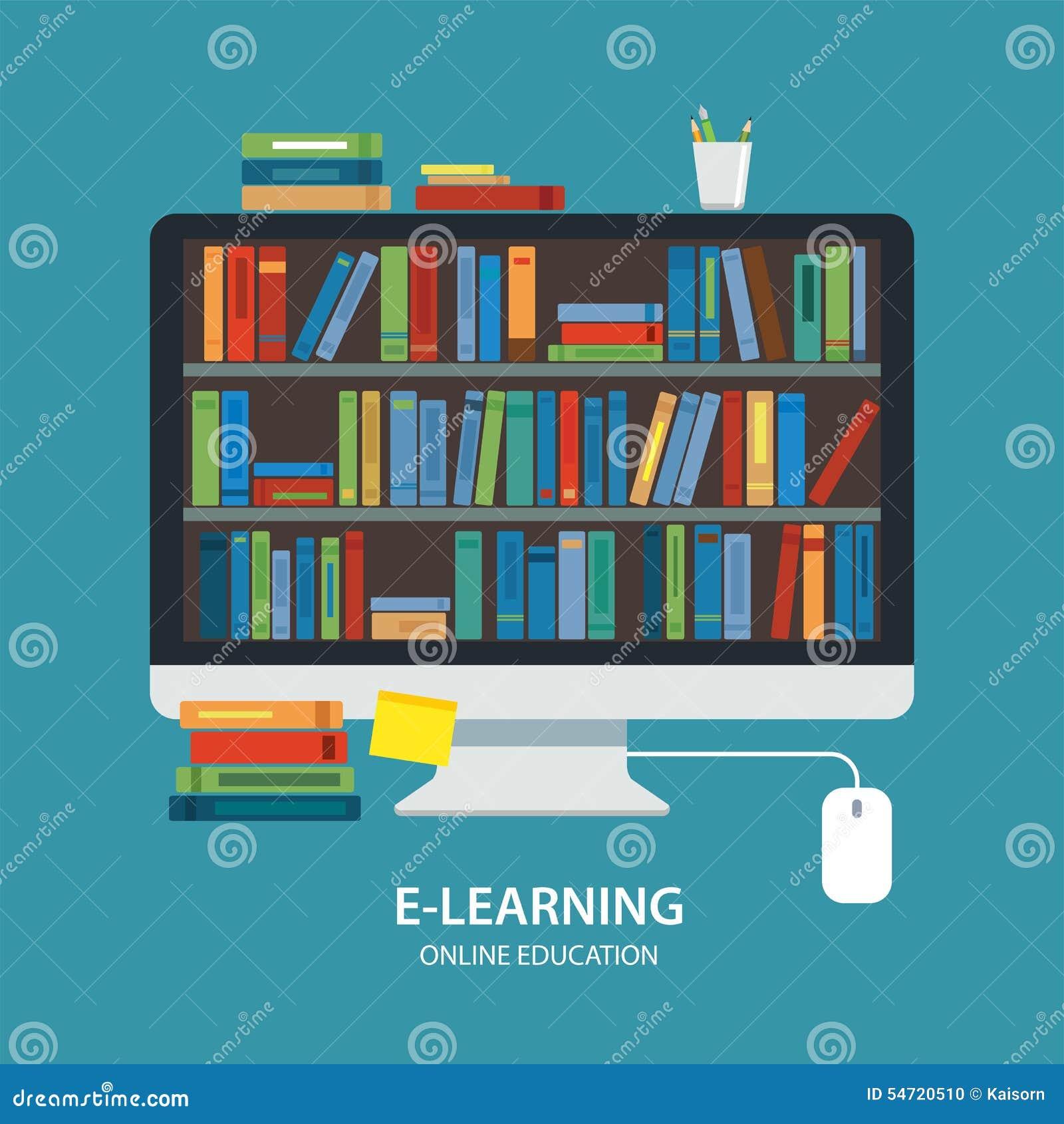 Online het concepten vlak ontwerp van het bibliotheekonderwijs