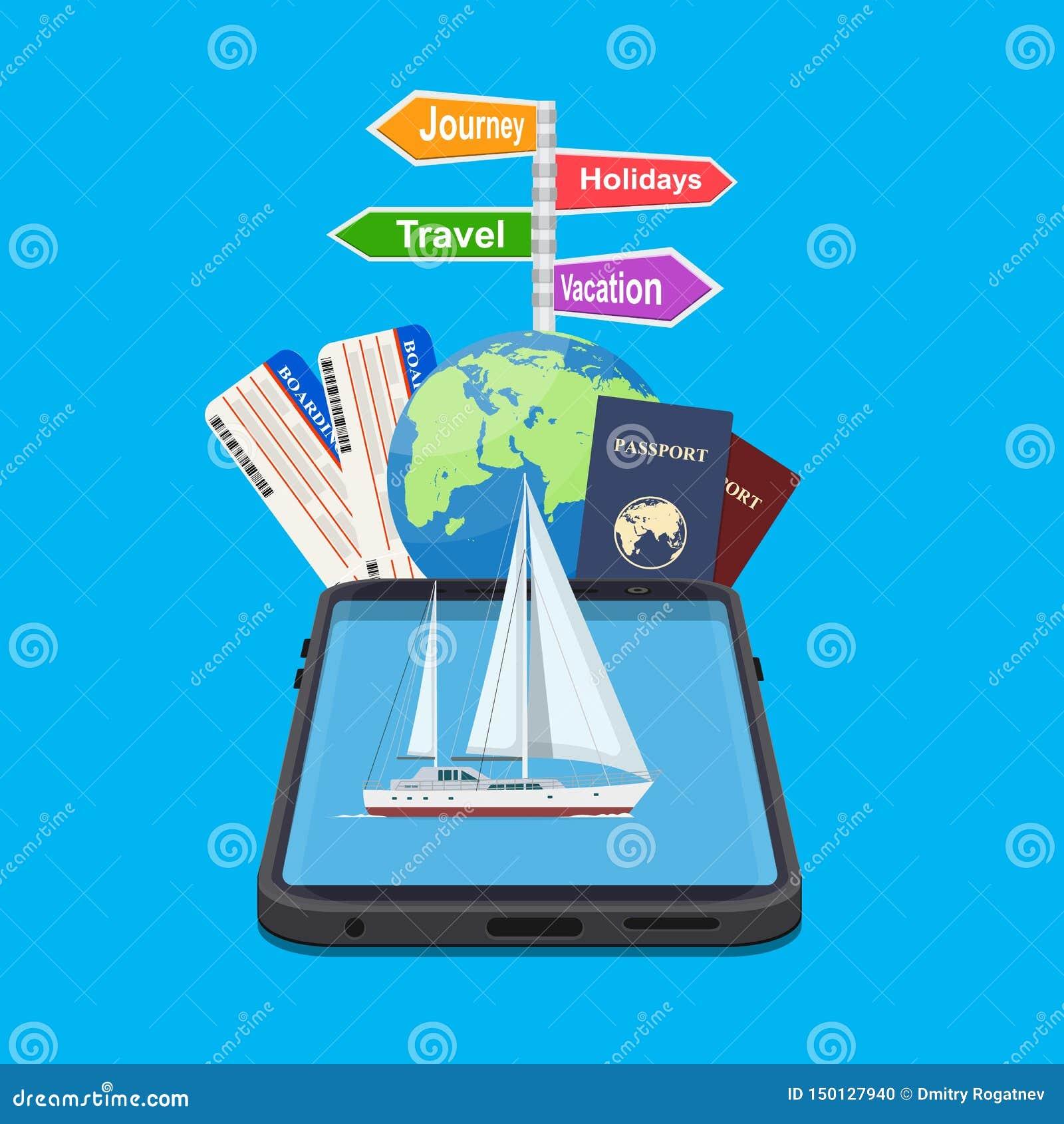 Online Holiday Travel Mobile App Stock Vector - Illustration