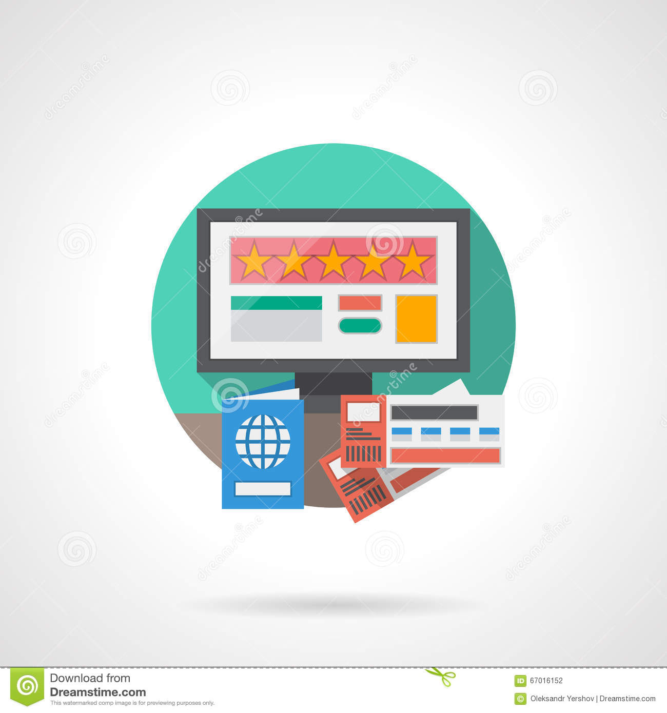 Online hotel detailed flat color icon stock illustration for Ideal hotel design booking